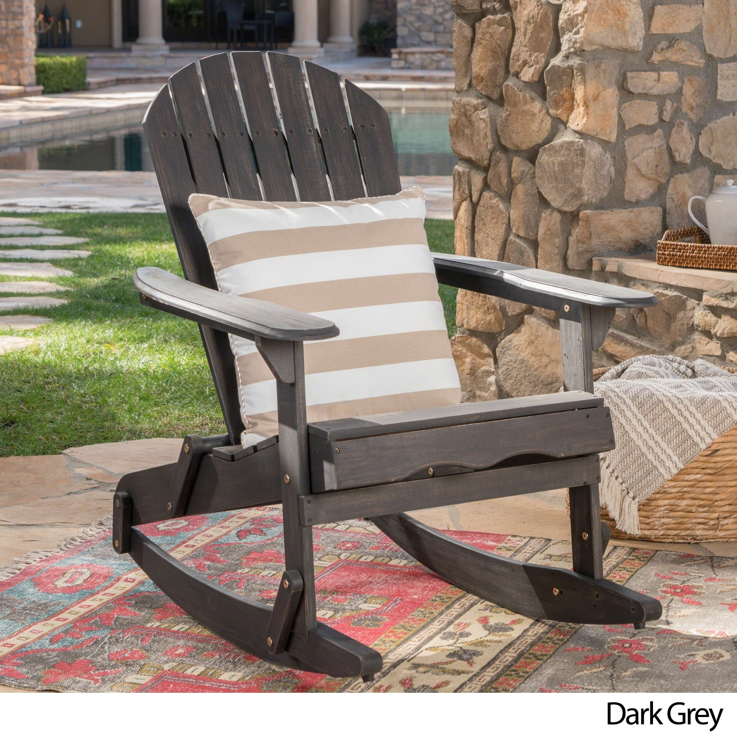 Shop Malibu Outdoor Adirondack Rocking Chair By Christopher Knight Home    Free Shipping Today   Overstock.com   20713391