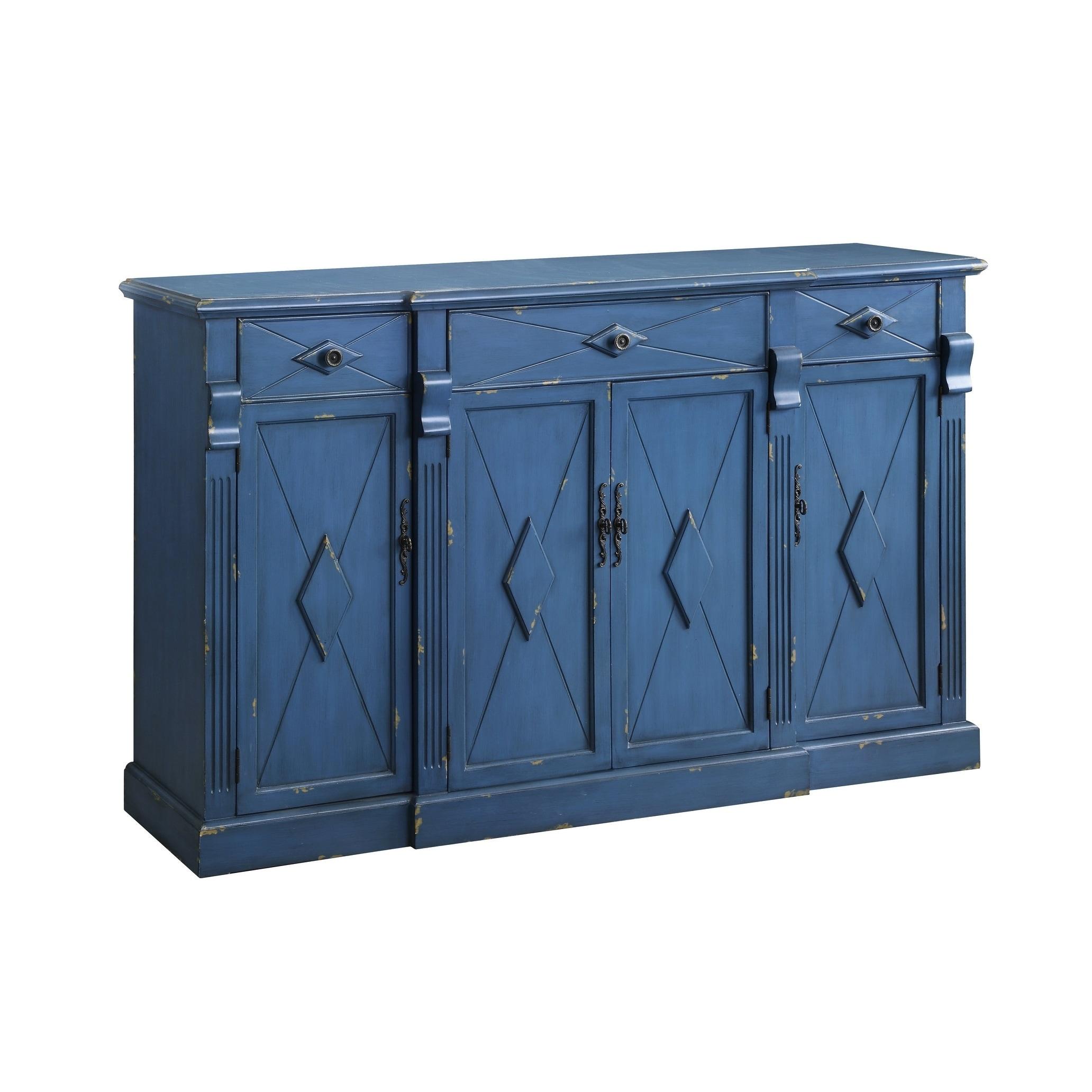 Shop Everett Royal Blue MDF 3-drawer 4-door Sideboard - Free ...