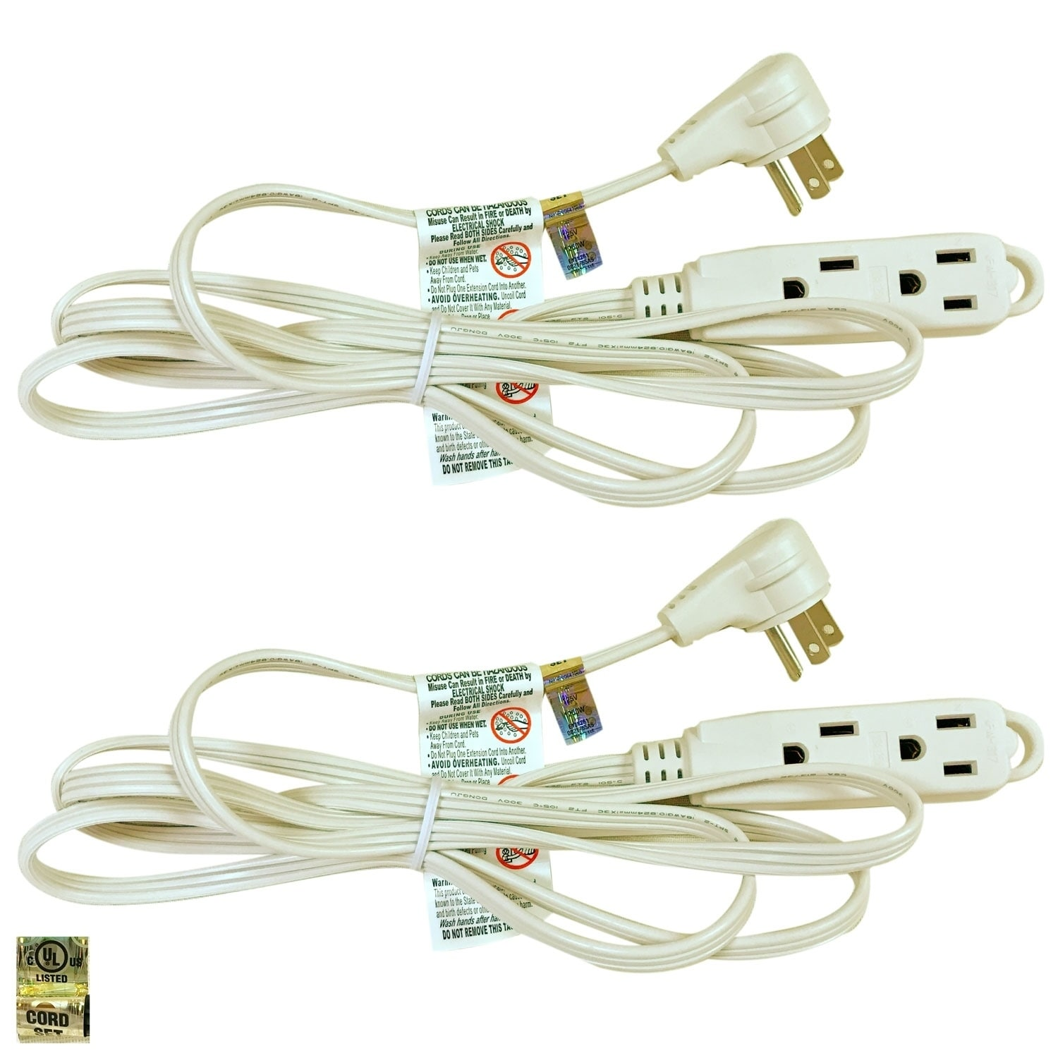 Royal Designs White 8 Foot Indoor/Outdoor Extension Cord, Set of 2 ...