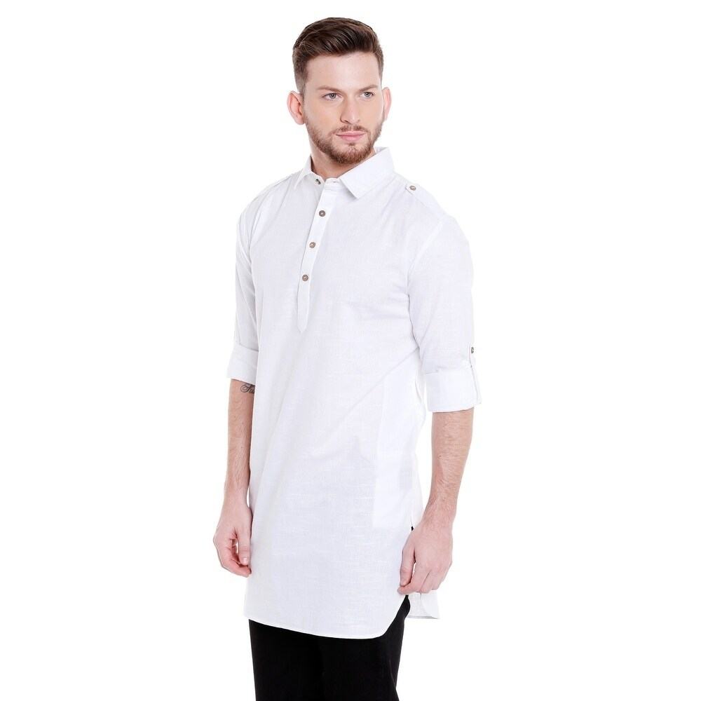 Shop In Sattva Mens Pullover Pathani Rollup Sleeve Kurta Tunic With