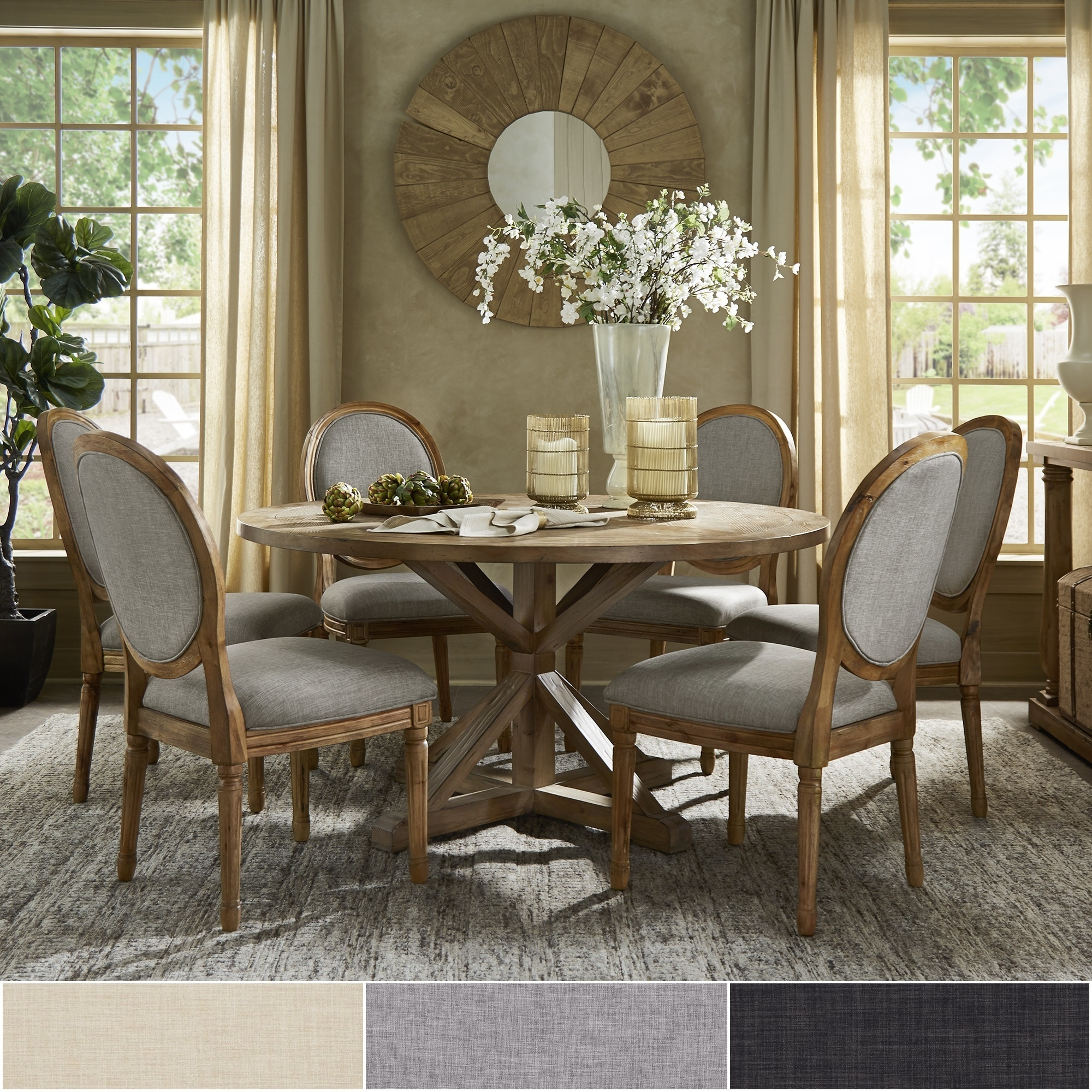 Shop Deana Round Dining Set With Round Back Chairs By INSPIRE Q Artisan    Free Shipping Today   Overstock.com   20716714