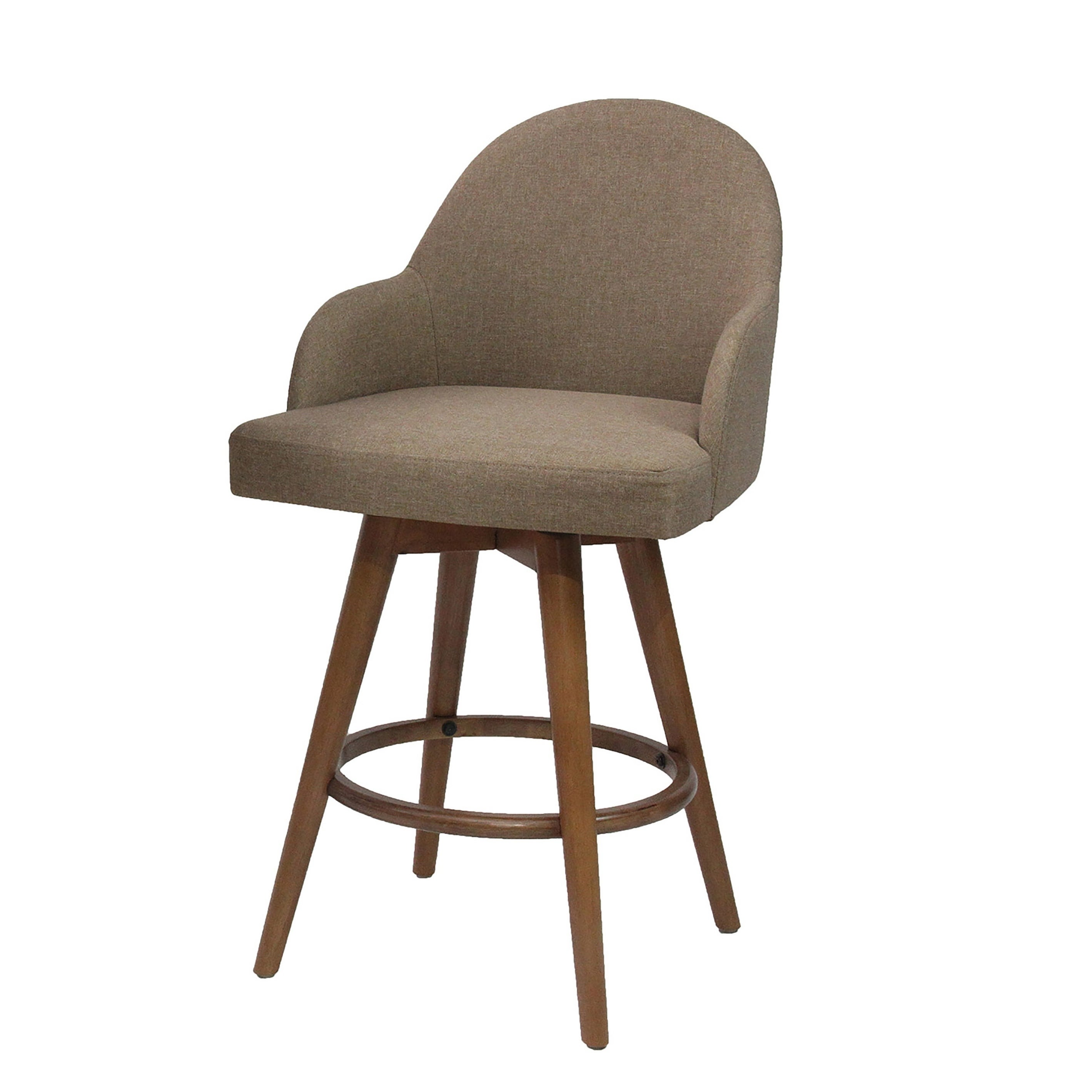 Shop mid modern low back pair of upholstered counter stools walnut n a free shipping today overstock com 20727360