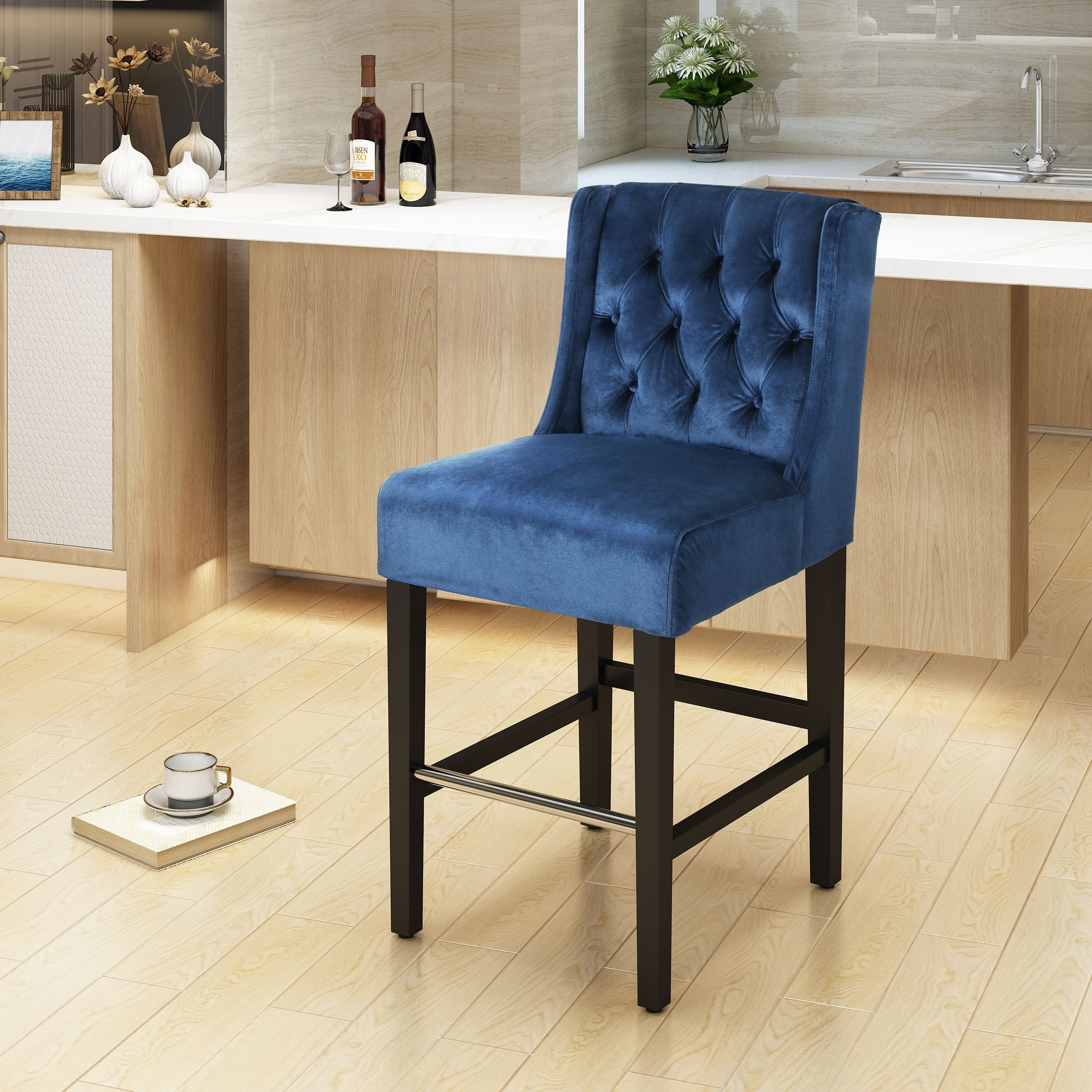 Leander Modern Velvet Counter Stool by Christopher Knight Home N A