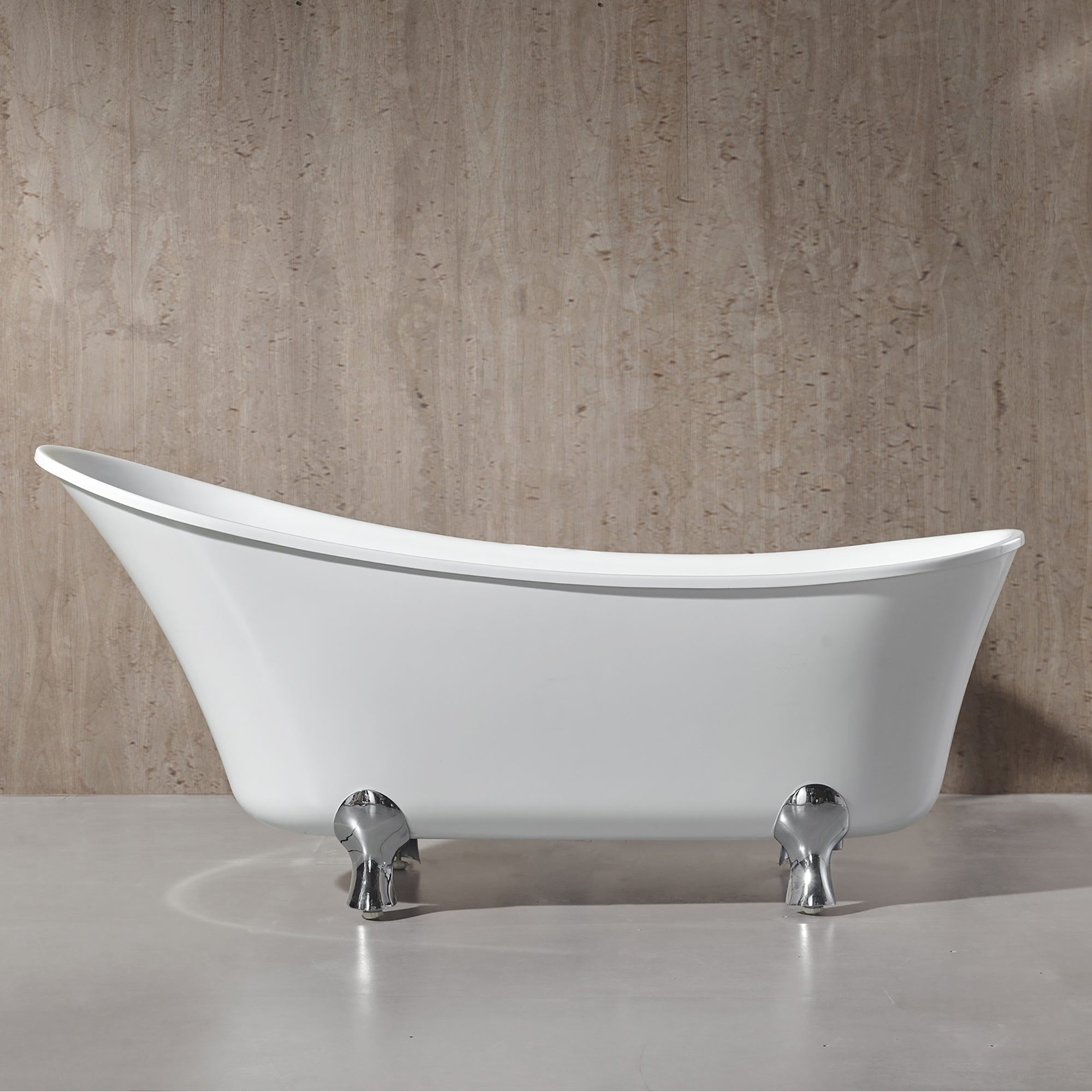 Shop Pearl 69 in. Freestanding Acrylic Tub in Glossy White - Free ...
