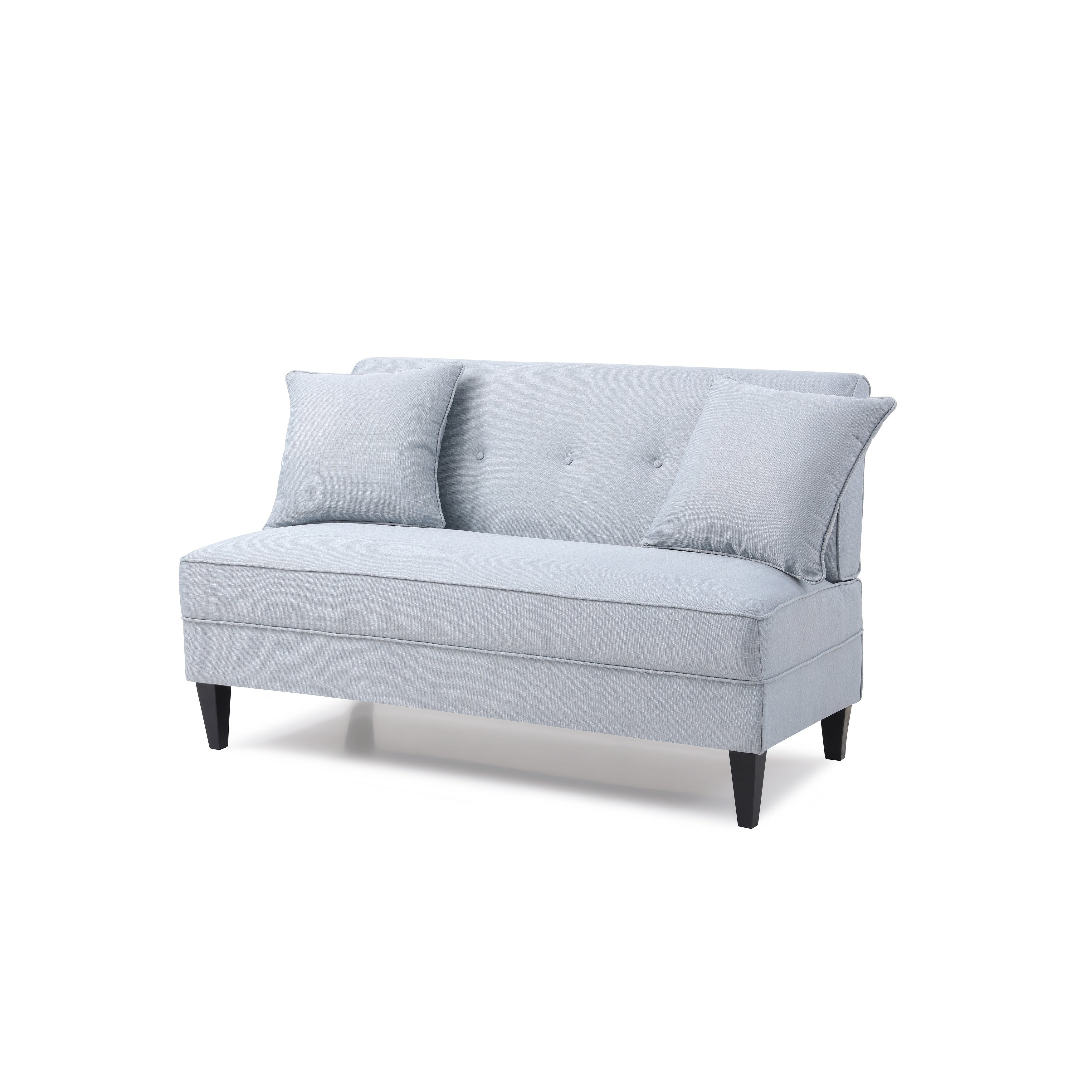 and pin pictured the loveseat wedge champagne armless with bumper sectional