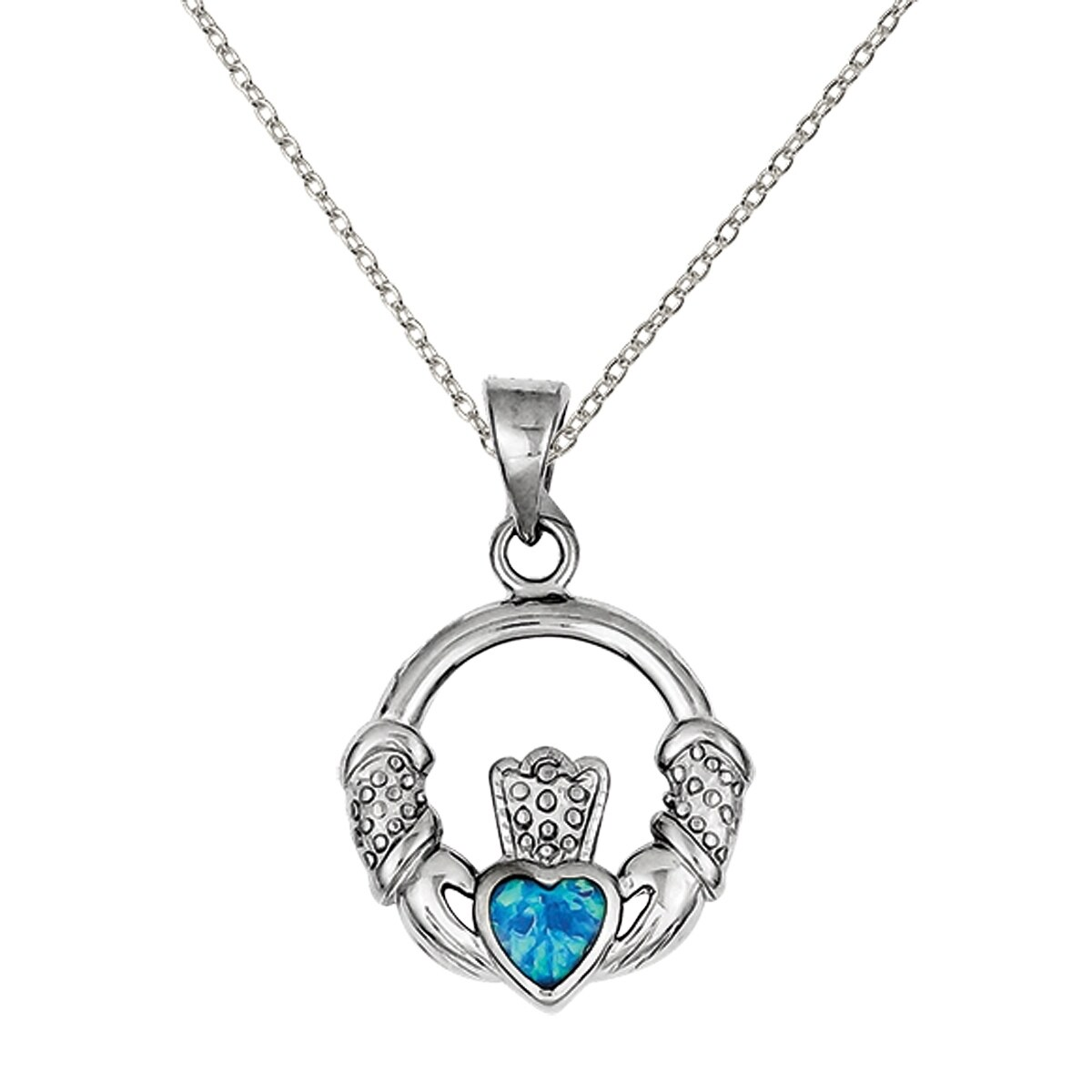 Versil sterling silver blue inlay created opal irish claddagh versil sterling silver blue inlay created opal irish claddagh pendant with 18 inch chain free shipping today overstock 26555328 aloadofball Image collections