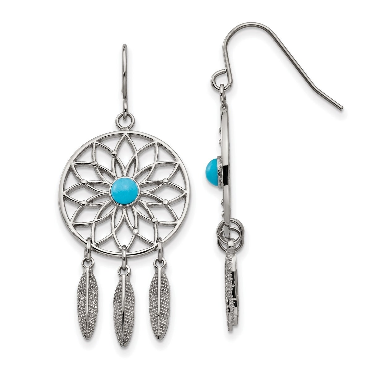 Versil Stainless Steel Polished With Imitation Turquoise Dreamcatcher Earrings Free Shipping Today 20730002