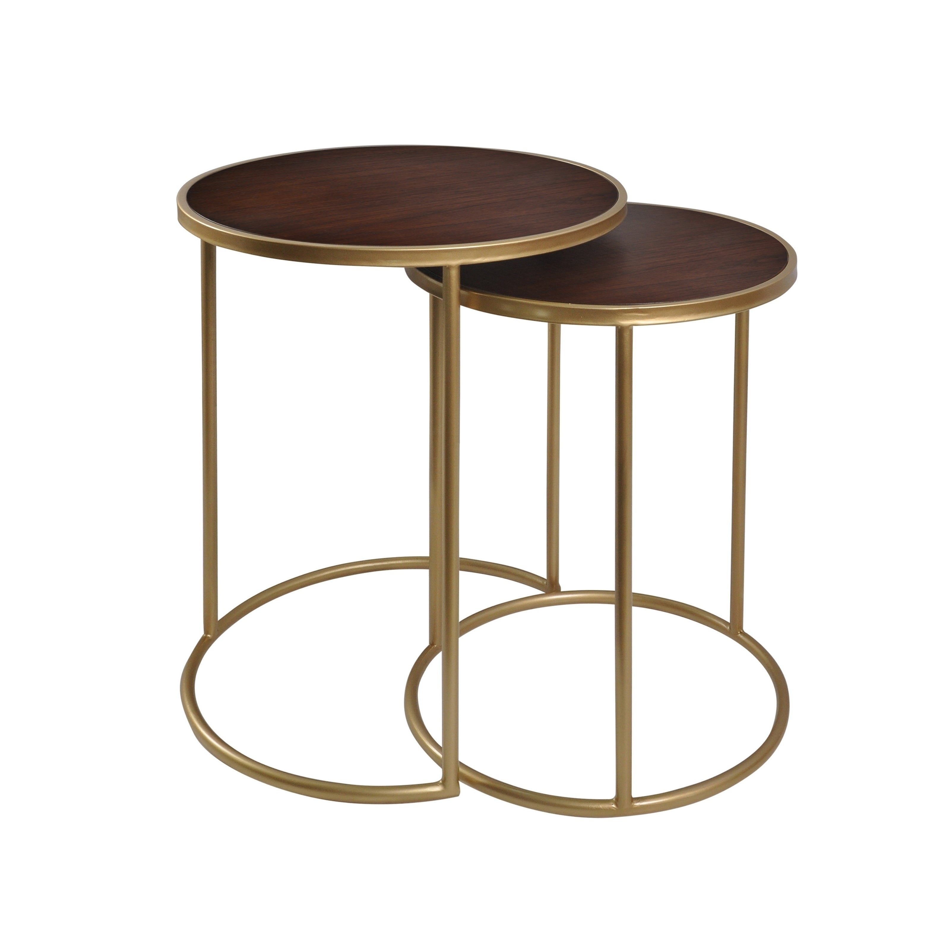 Shop bryan keith mahogany bay nesting metal tables matte wood top set of 2 free shipping today overstock com 20730486