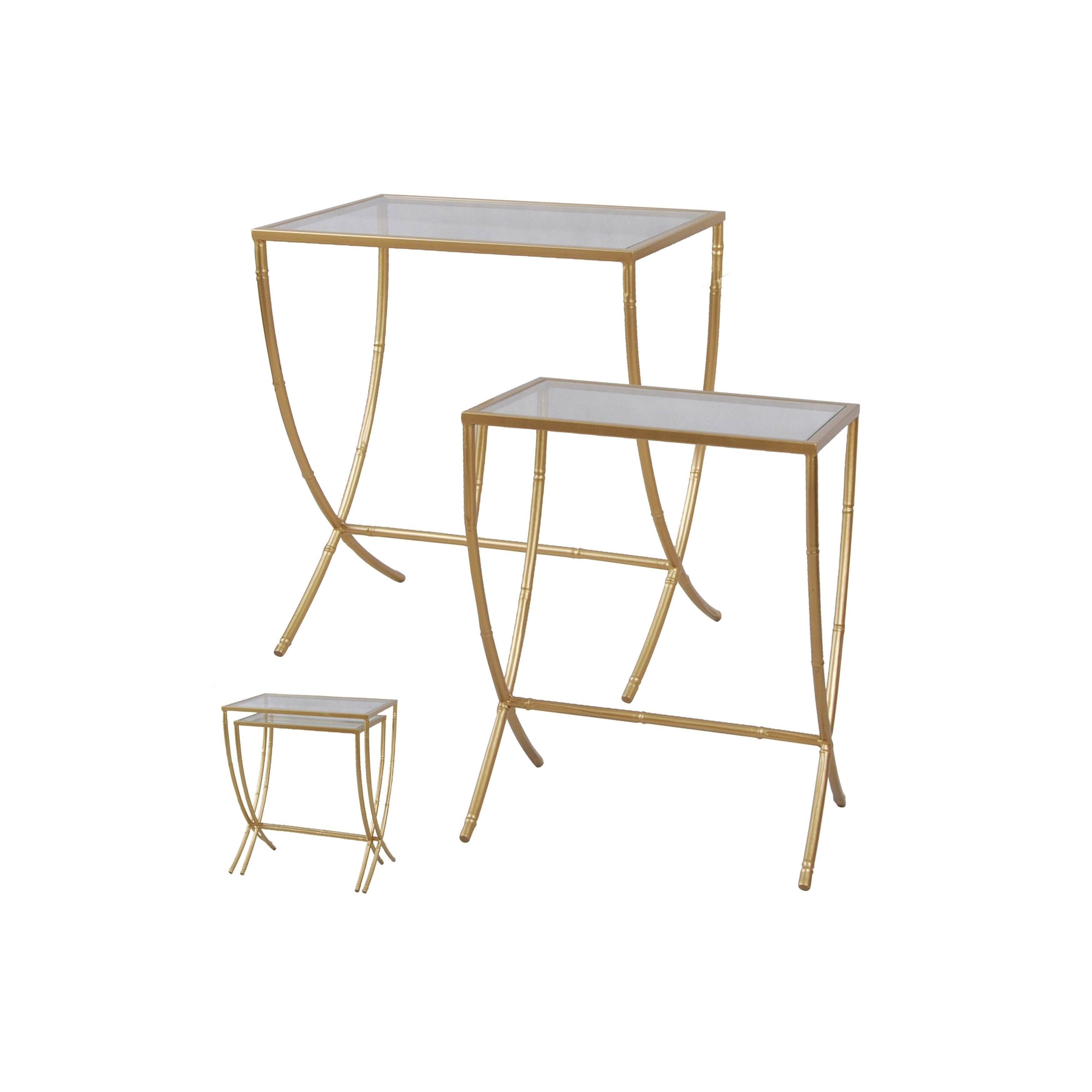 StyleCraft Glass Top Nesting Tables - Antique Gold Metal Bamboo ...