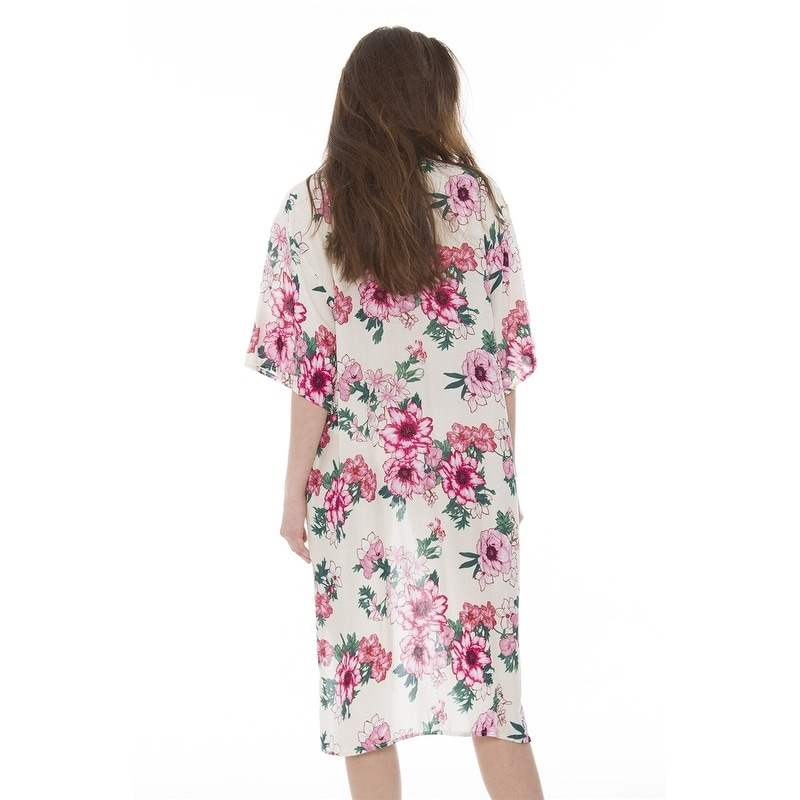 212ff57caf Shop Womens Soft Beautiful Printed Open Front Long Kimono Robe Beach Coverup  - Free Shipping On Orders Over $45 - Overstock - 20731586