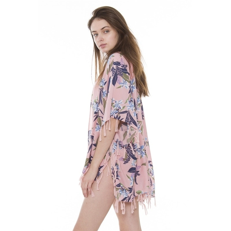 1192796fe Shop Womens Breezy Soft Lightweight Stylish Boho Printed Kimono Cardigan  Beach Pool Cover-up W/ Fringes Tassels - On Sale - Free Shipping On Orders  Over $45 ...