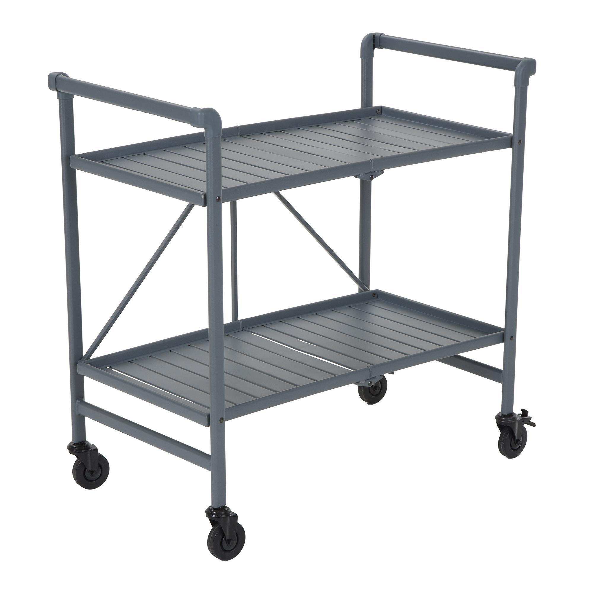 Shop Cosco Outdoor Living SMARTFOLD Outdoor Or Indoor Folding Serving Cart  With 2 Slatted Shelves   On Sale   Free Shipping Today   Overstock.com    20731601
