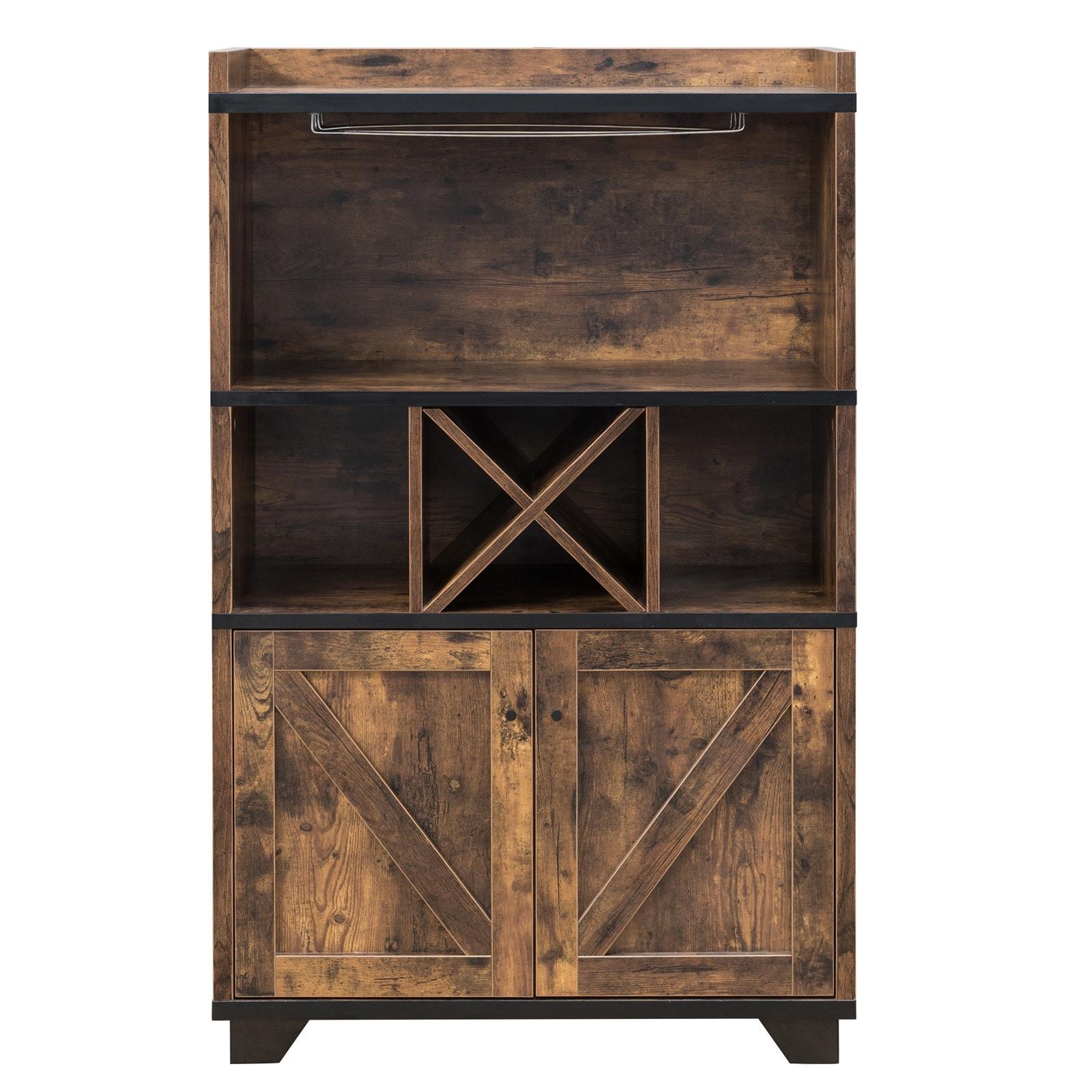 Furniture of America Wesleyan Rustic Farmhouse Wine Cabinet Buffet