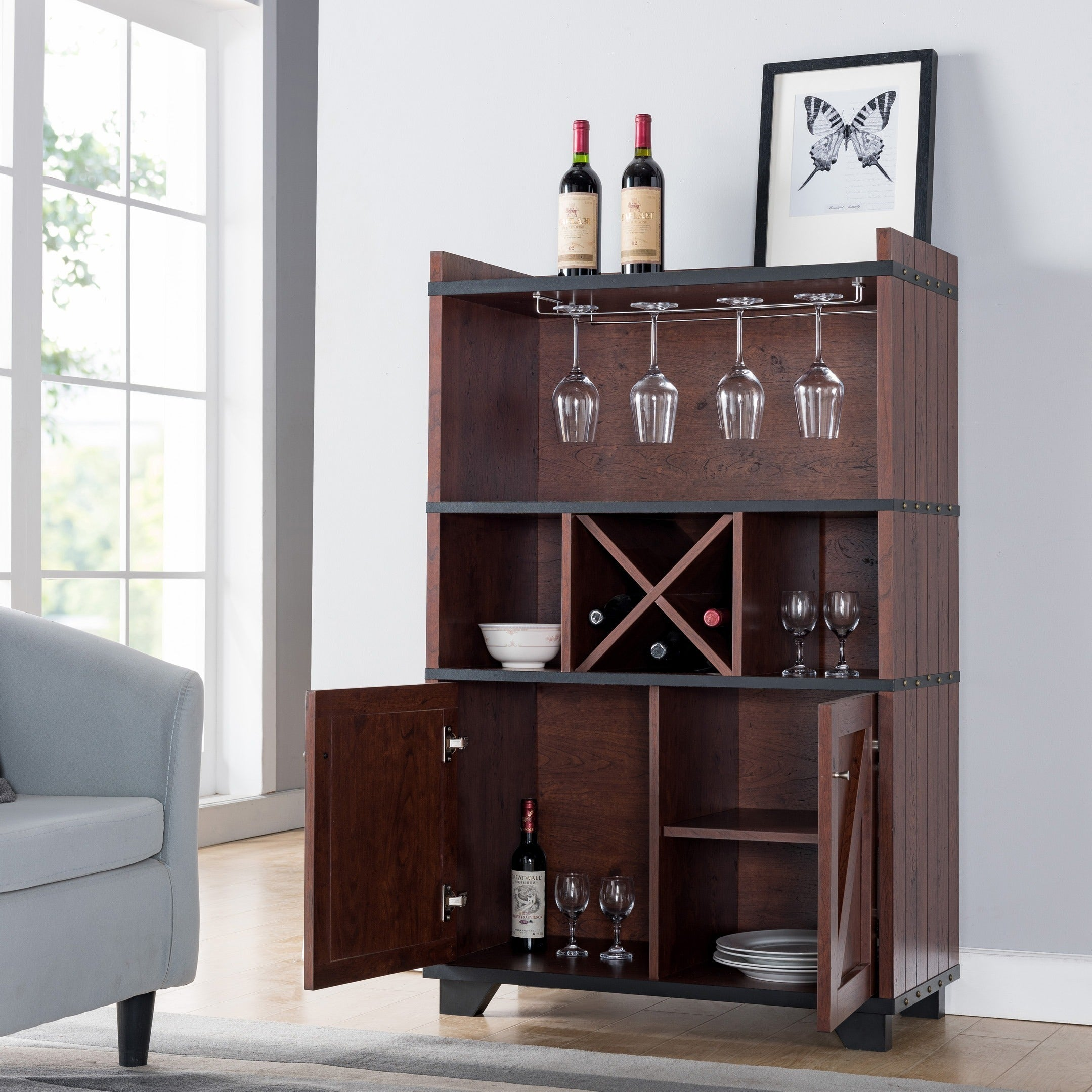 Shop Furniture Of America Wesleyan Rustic Farmhouse Wine Cabinet