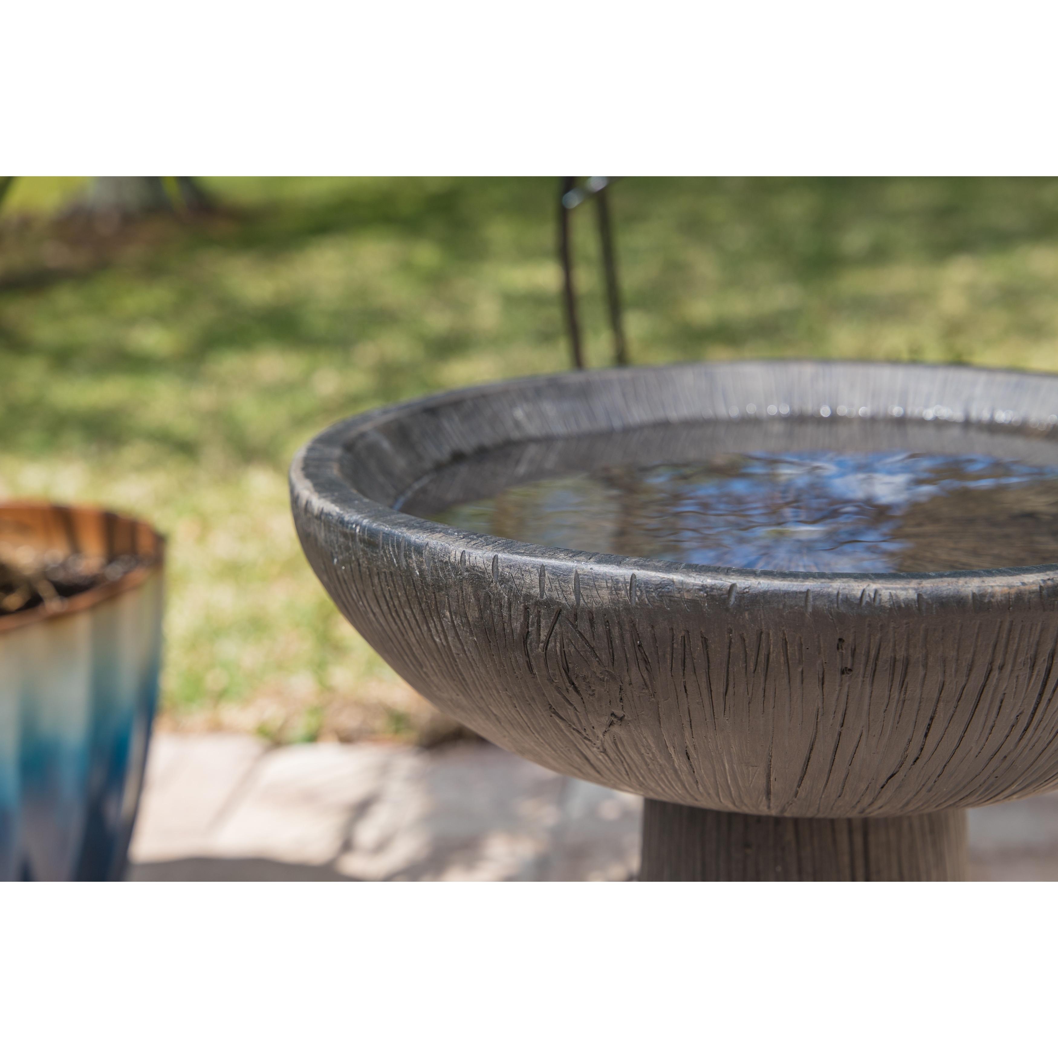 Shop Elvin 21 Outdoor Bird Bath Wood Grain On Sale Free