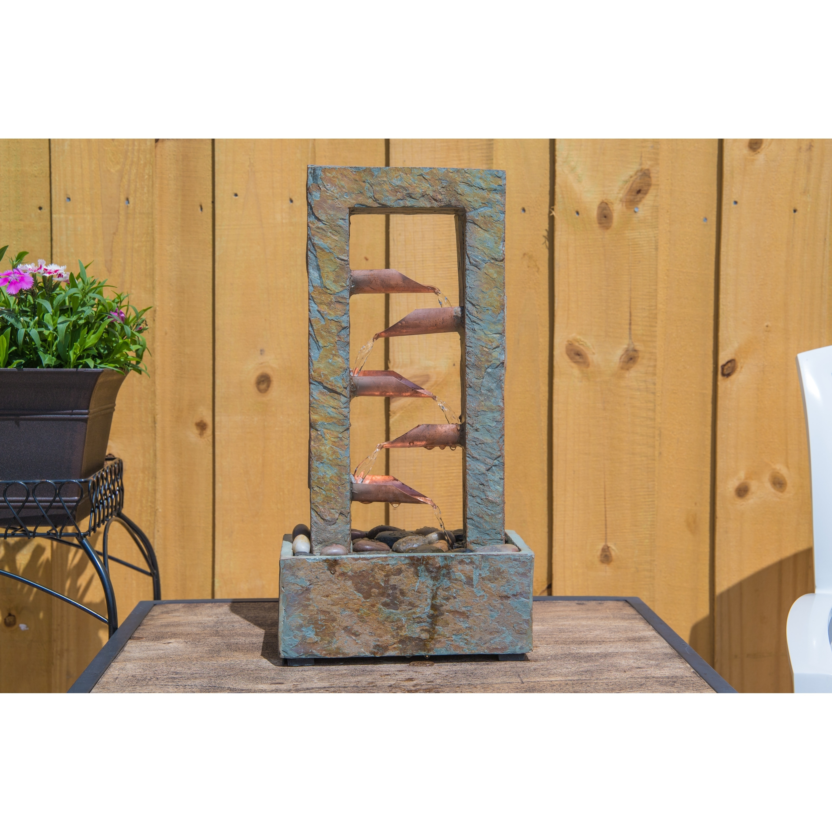 Droplet 19 Indoor Table Fountain Slate And Copper On Free Shipping Today 20740217