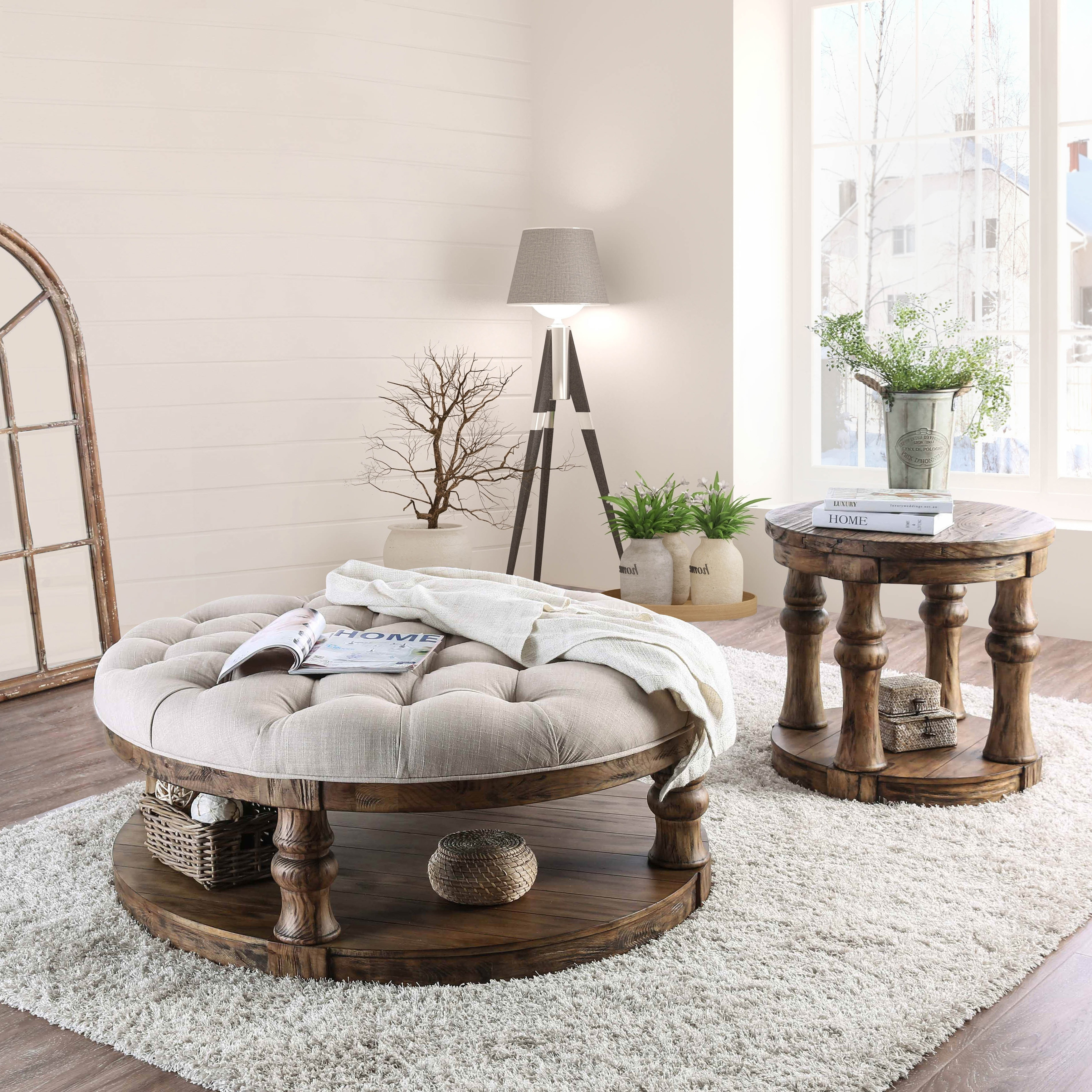 Shop Furniture Of America Patterson Rustic Button Tufted Coffee Table   On  Sale   Free Shipping Today   Overstock.com   20740231