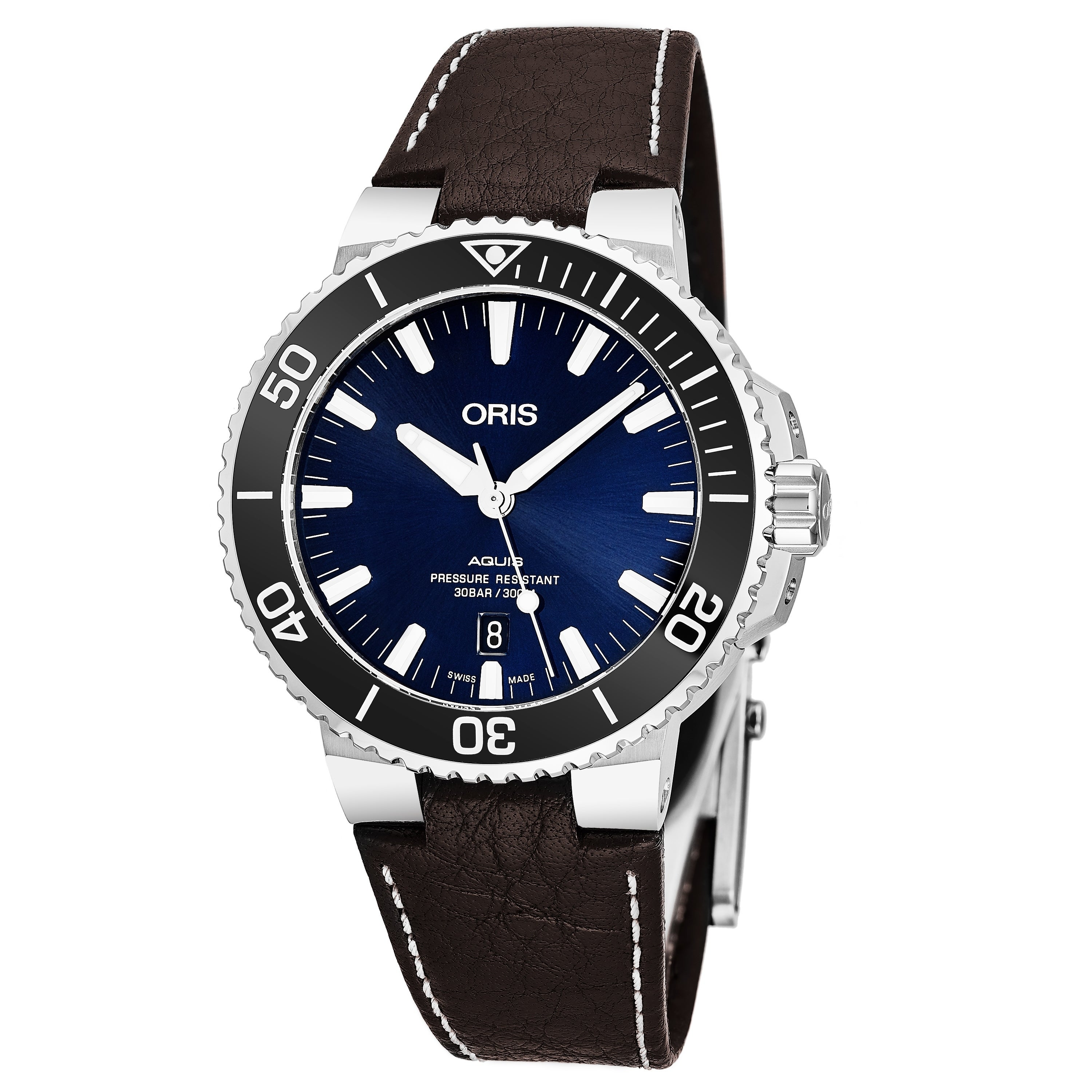 Shop Oris Mens 01 733 7730 4135 07 5 24 10eb Aquis Blue Dial Stocking Ring 9919 Brown Leather Strap Swiss Automatic Watch Free Shipping Today 20741667