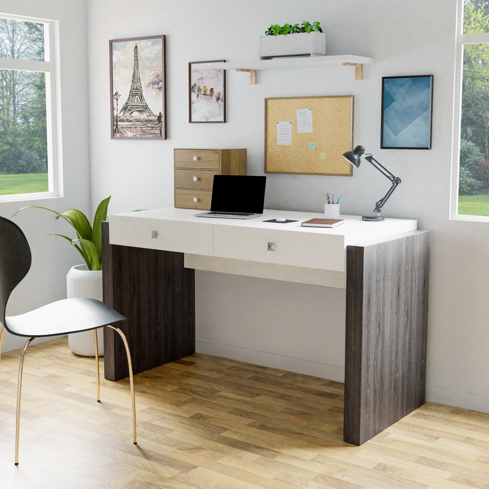 Furniture of america zilo modern contemporary glossy white 2 drawer home office desk