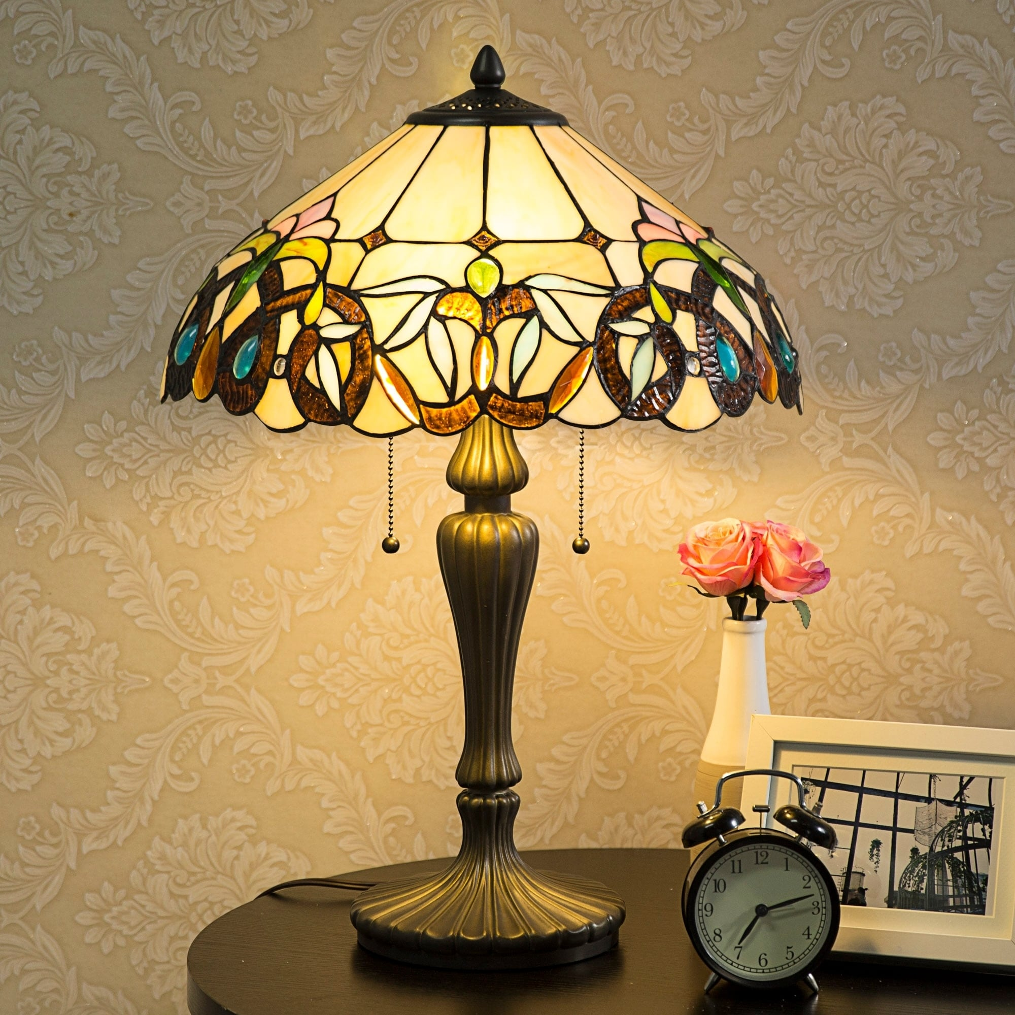 Lamp 15 5 Lampshade Table Baroque Stained Gl Desk Home Decor Lighting