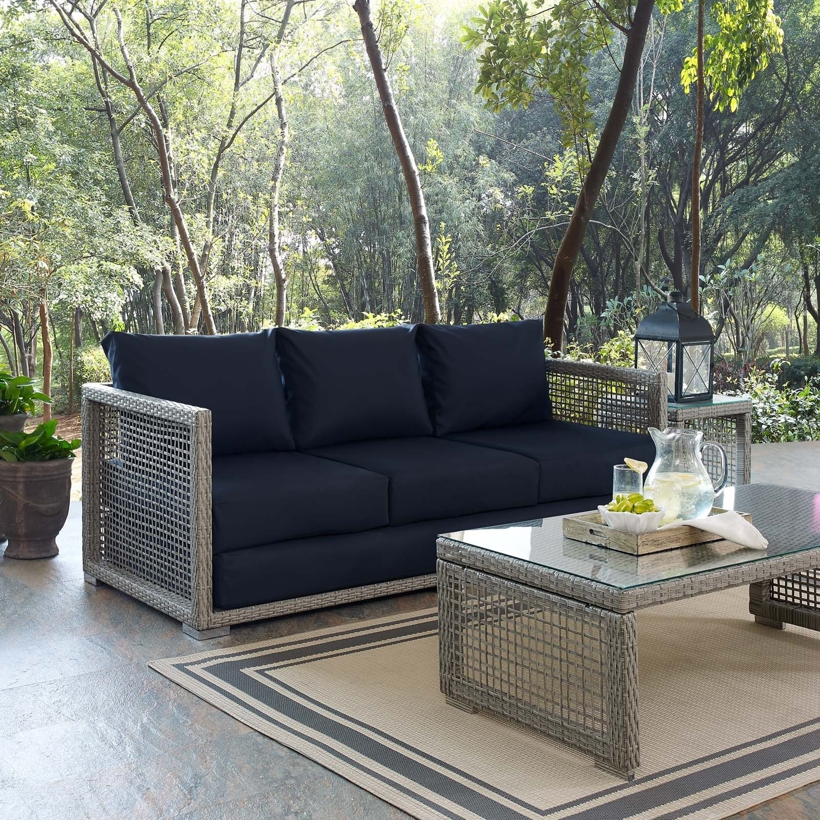 Aura Outdoor Patio Wicker Rattan Sofa Free Shipping Today 20748057