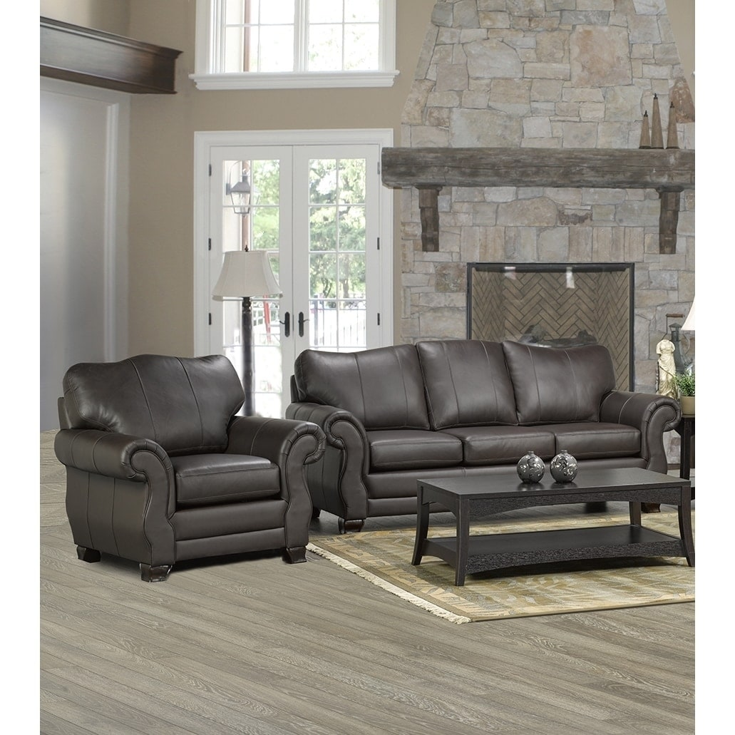 Madison Italian Leather Sofa And Chair Set On Free Shipping Today 20748344
