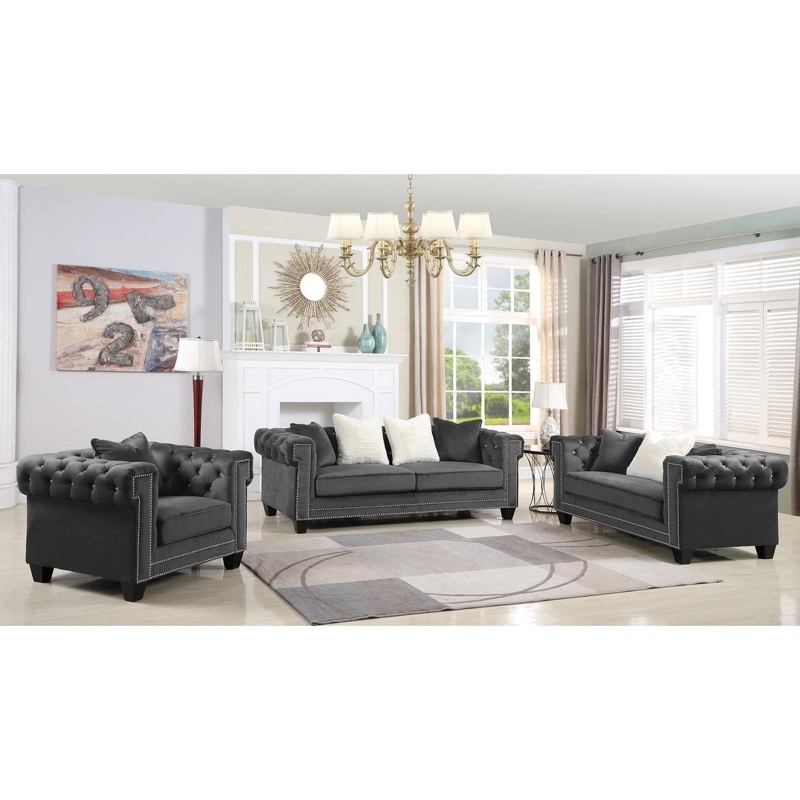 Shop Best Master Furniture Velvet Upholstered 3 Pcs Living Room Set ...