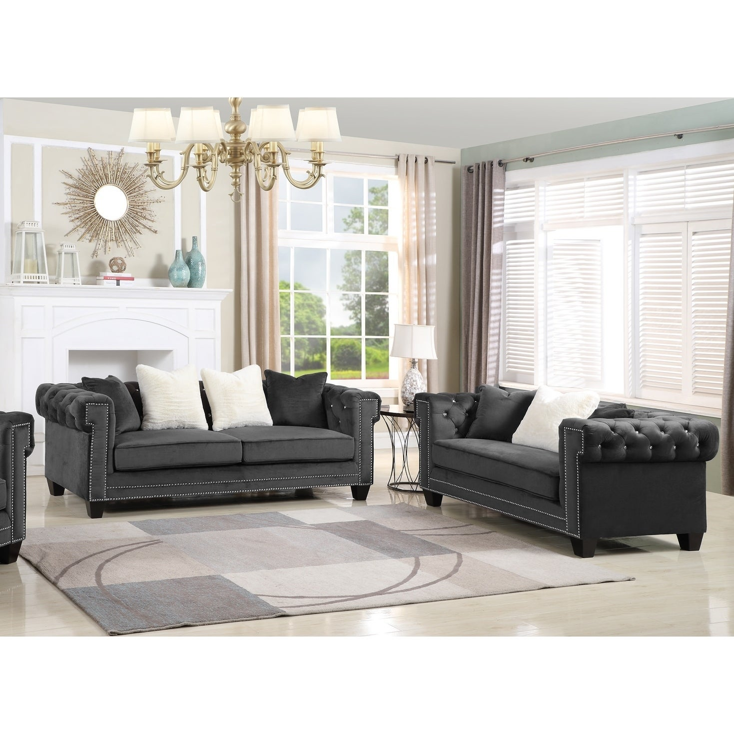 Best Master Furniture Velvet Upholstered 2 Pcs Living Room Set ...