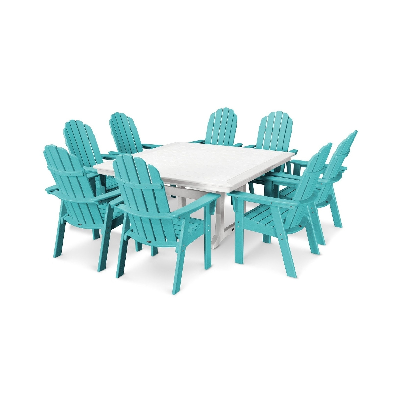 POLYWOOD Vineyard Adirondack 9-Piece Nautical Trestle Dining Set ...