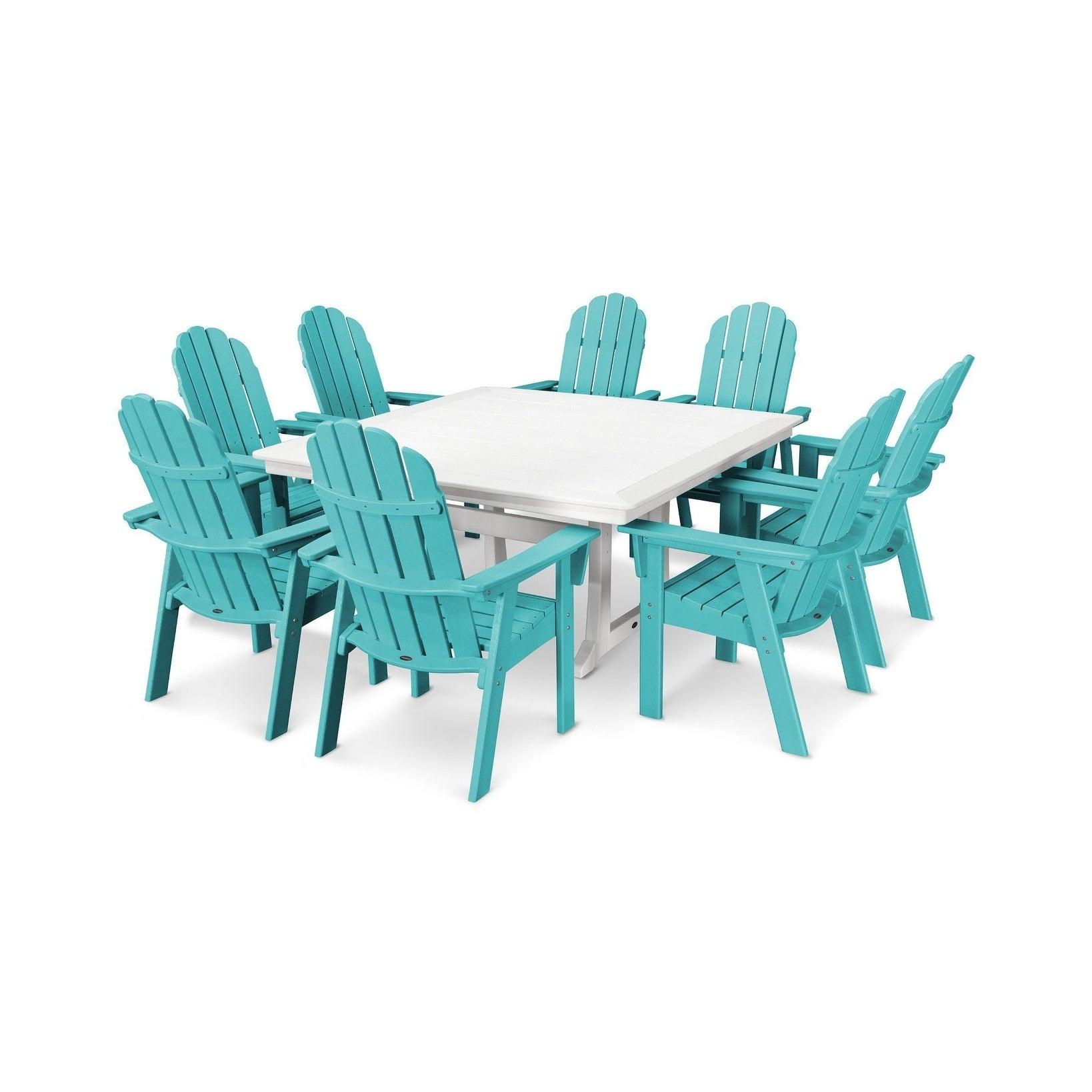 Shop POLYWOOD Vineyard Adirondack 9-Piece Nautical Trestle Dining ...