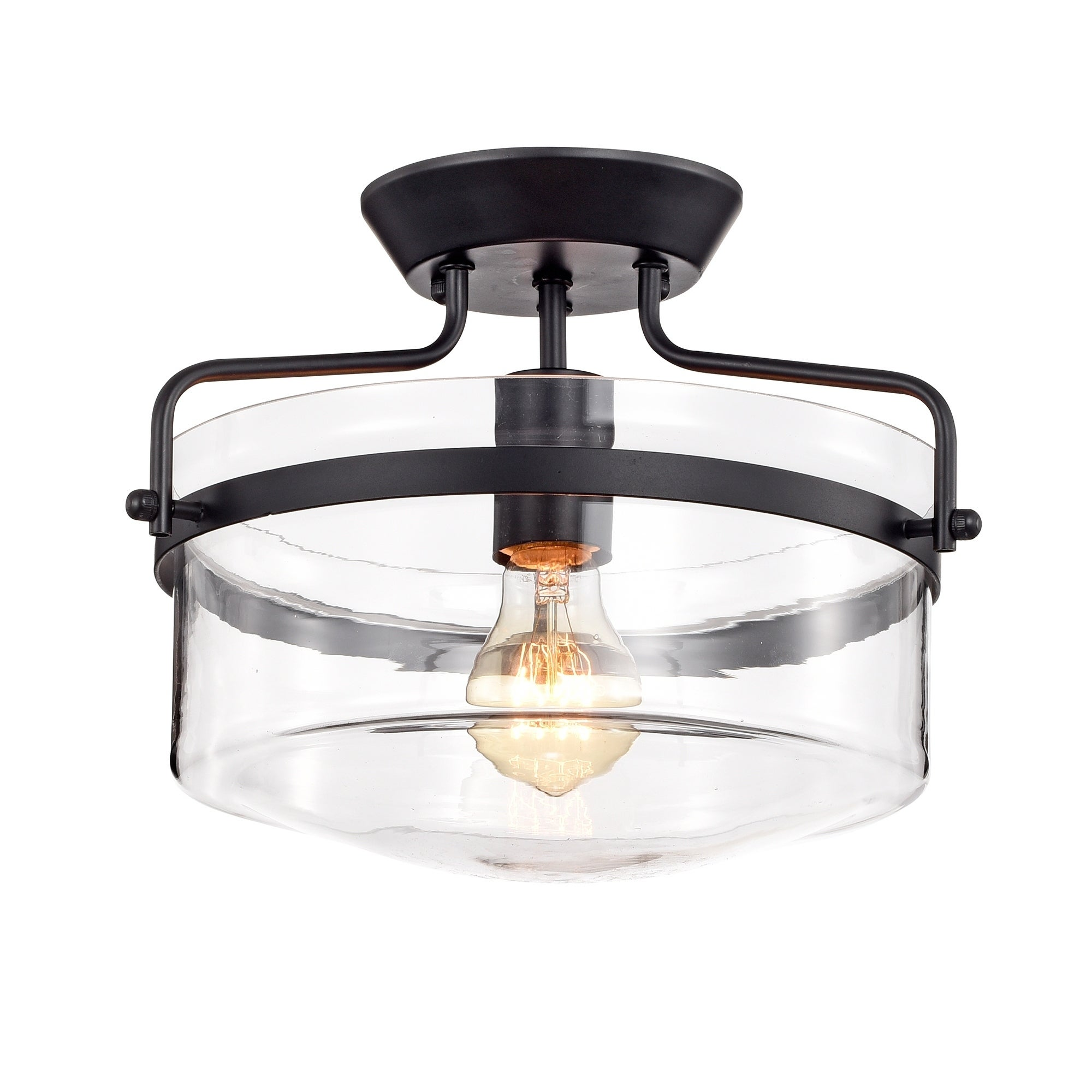 Shop merwin 1 light matte black semi flush ceiling lamp on sale free shipping today overstock 20752035