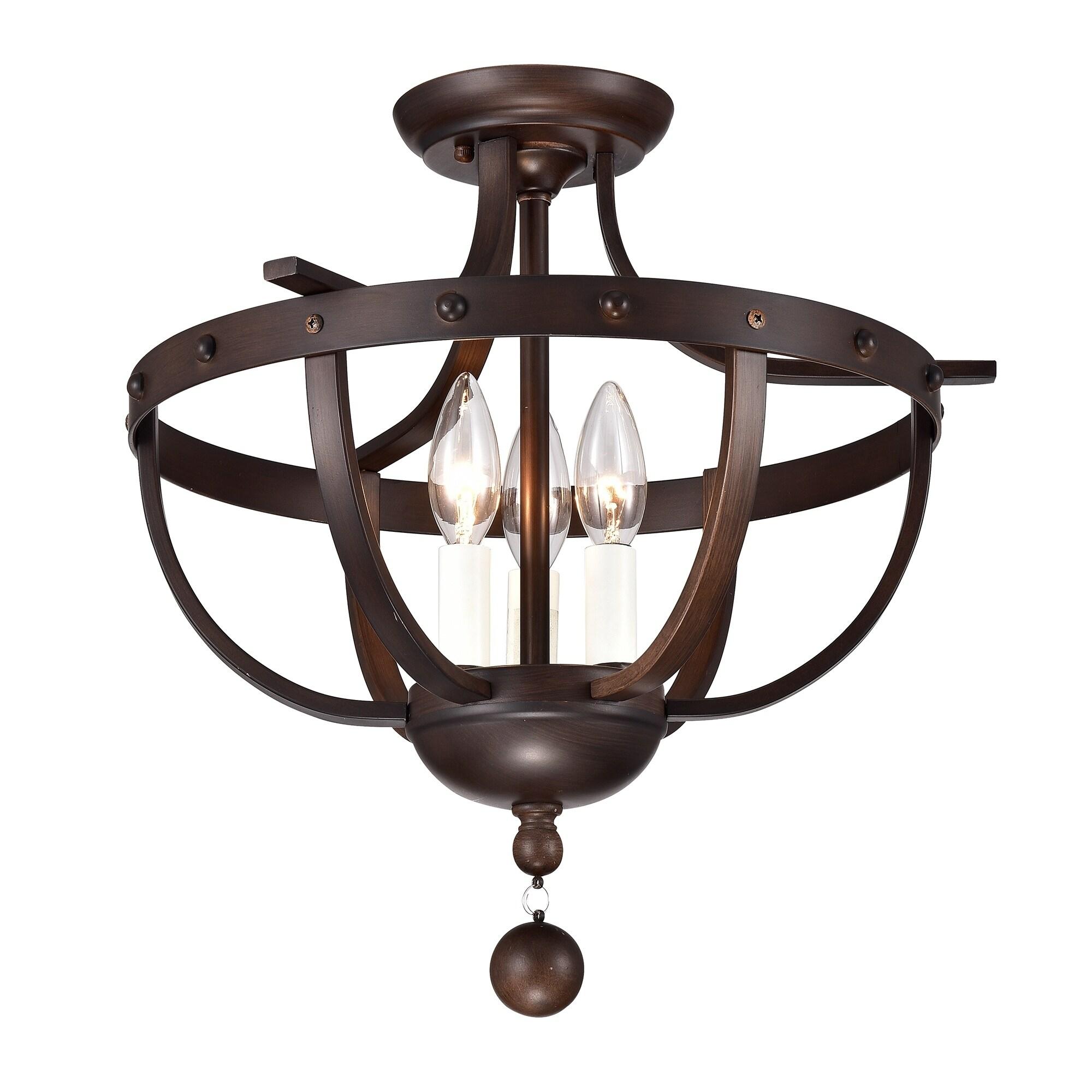Bopelo brushed dark bronze 3 light semi flush ceiling lamp