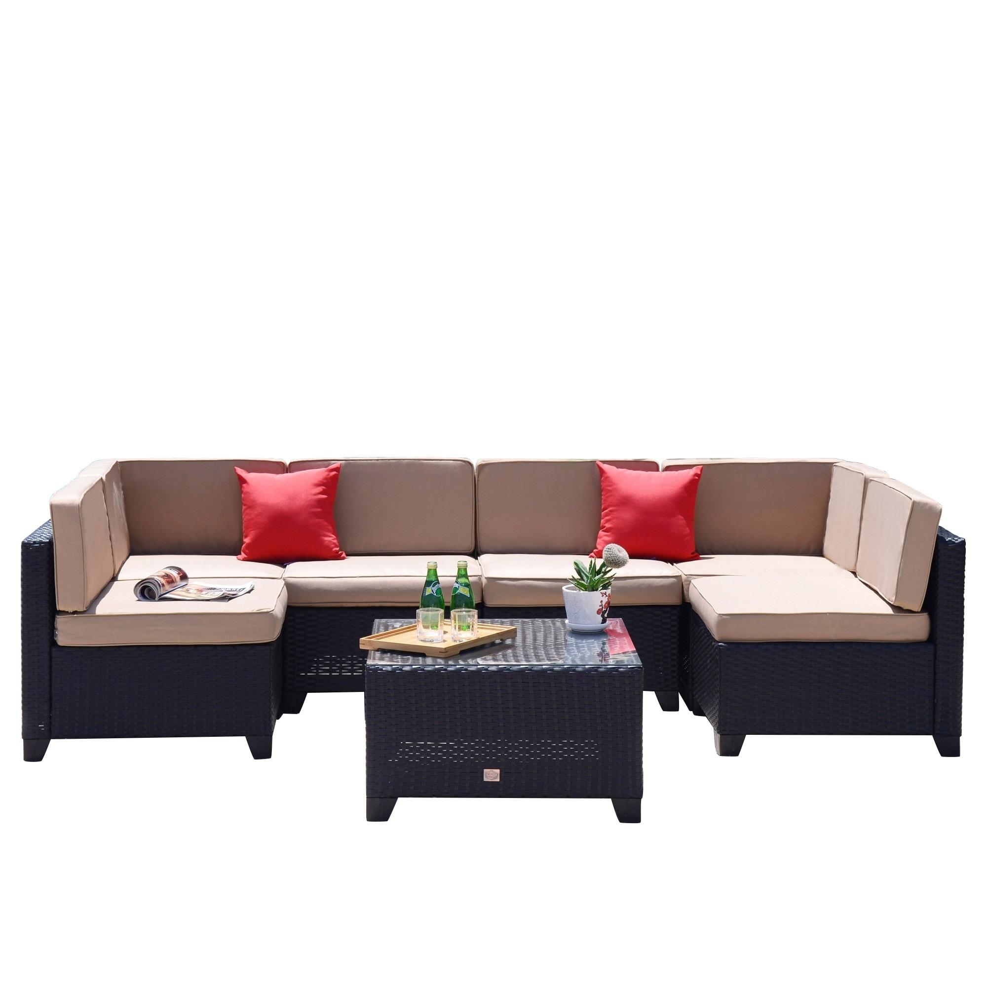 Shop 7 PC Patio PE Rattan Wicker Furniture Set Backyard Sectional ...