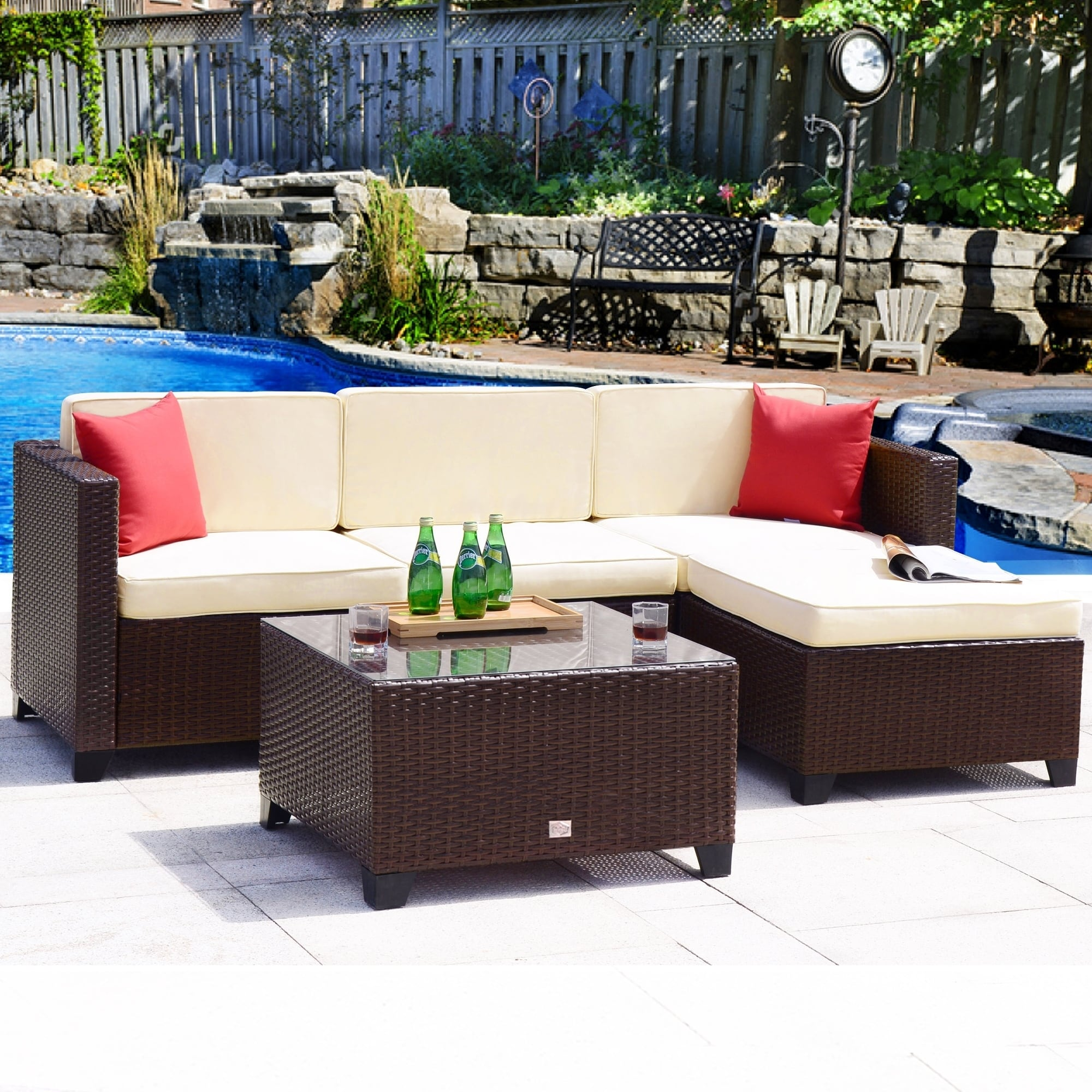 Shop 5 Pc Rattan Sofa Set Cushioned Sectional Wicker Outdoor Garden