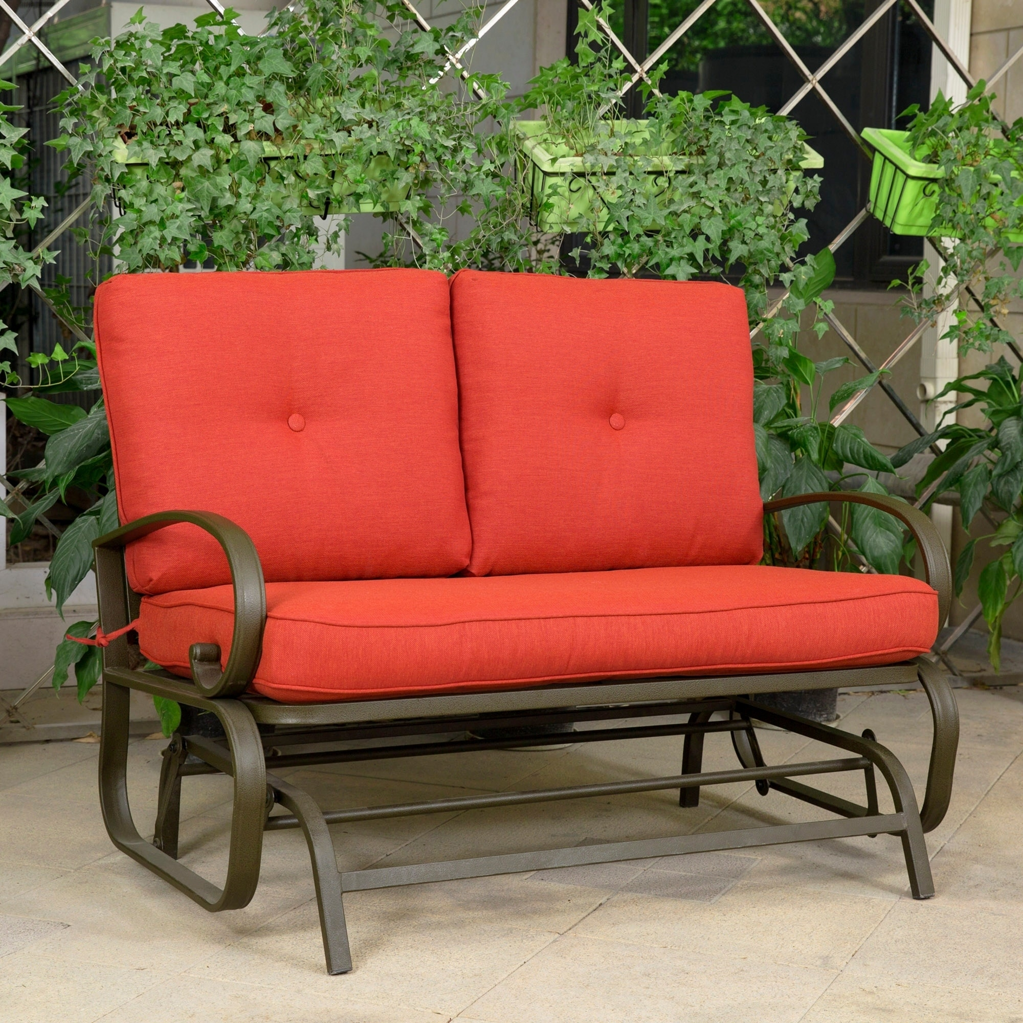 2 Person Loveseat Cushioned Rocking Bench Furniture Patio Swing Rocker  Lounge Glider Chair Outdoor Patio, Brick Red   Free Shipping Today    Overstock   ...