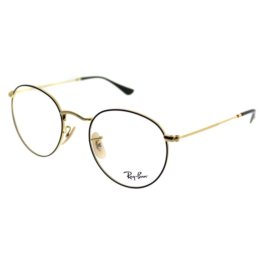 fb5f7218f114 Shop Ray-Ban Round RX 3447V Round Metal 2991 Unisex Gold On Top Black Frame  Eyeglasses - Ships To Canada - Overstock.ca - 20755961