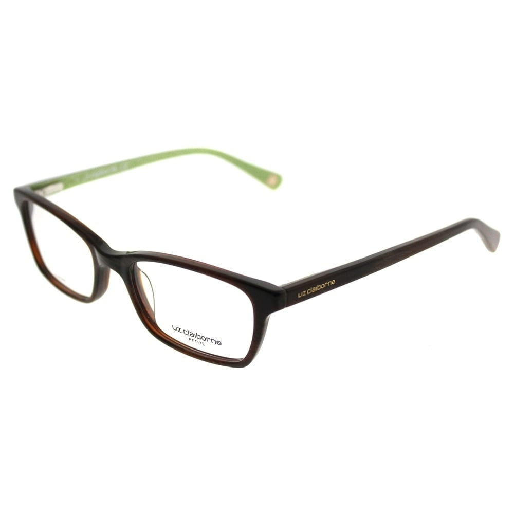 Liz Claiborne Rectangle 424 EB8 Women Shiny Horn Green Frame ...