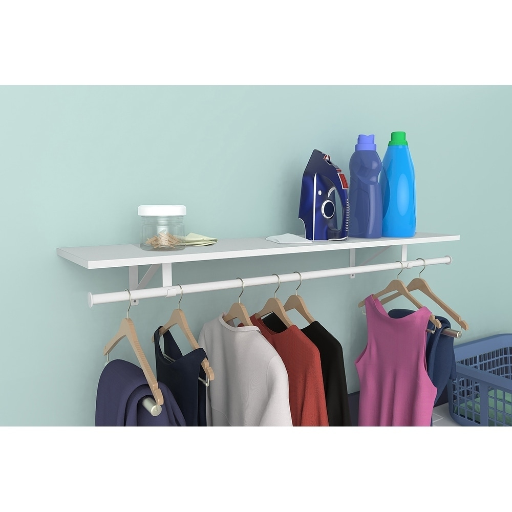 Shop ClosetMaid Wood Shelf Kit With Hang Rod   Free Shipping On Orders Over  $45   Overstock.com   20756669