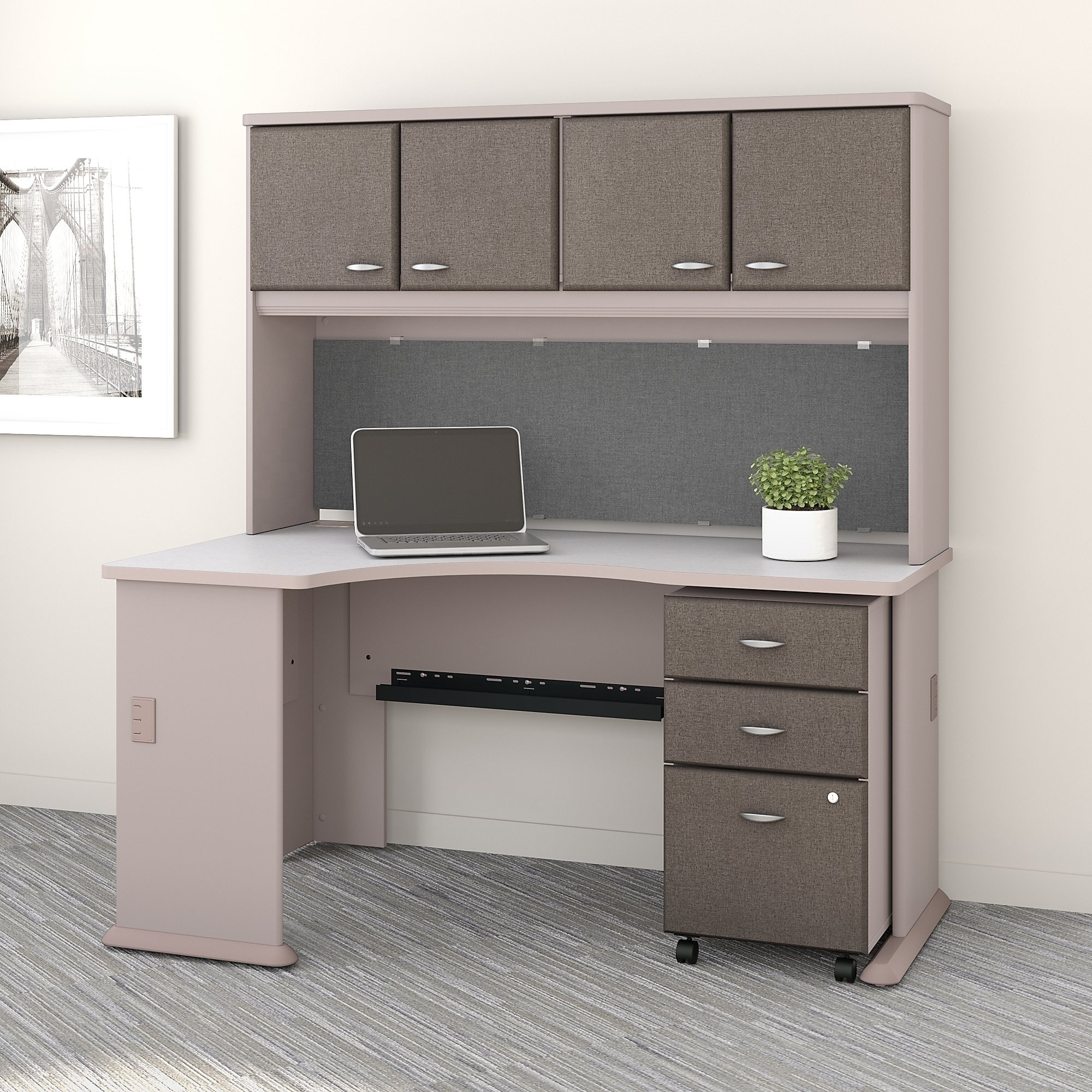 Series A Left Corner Desk Hutch File Cabinet In Pewter And White Free Shipping Today 20757148