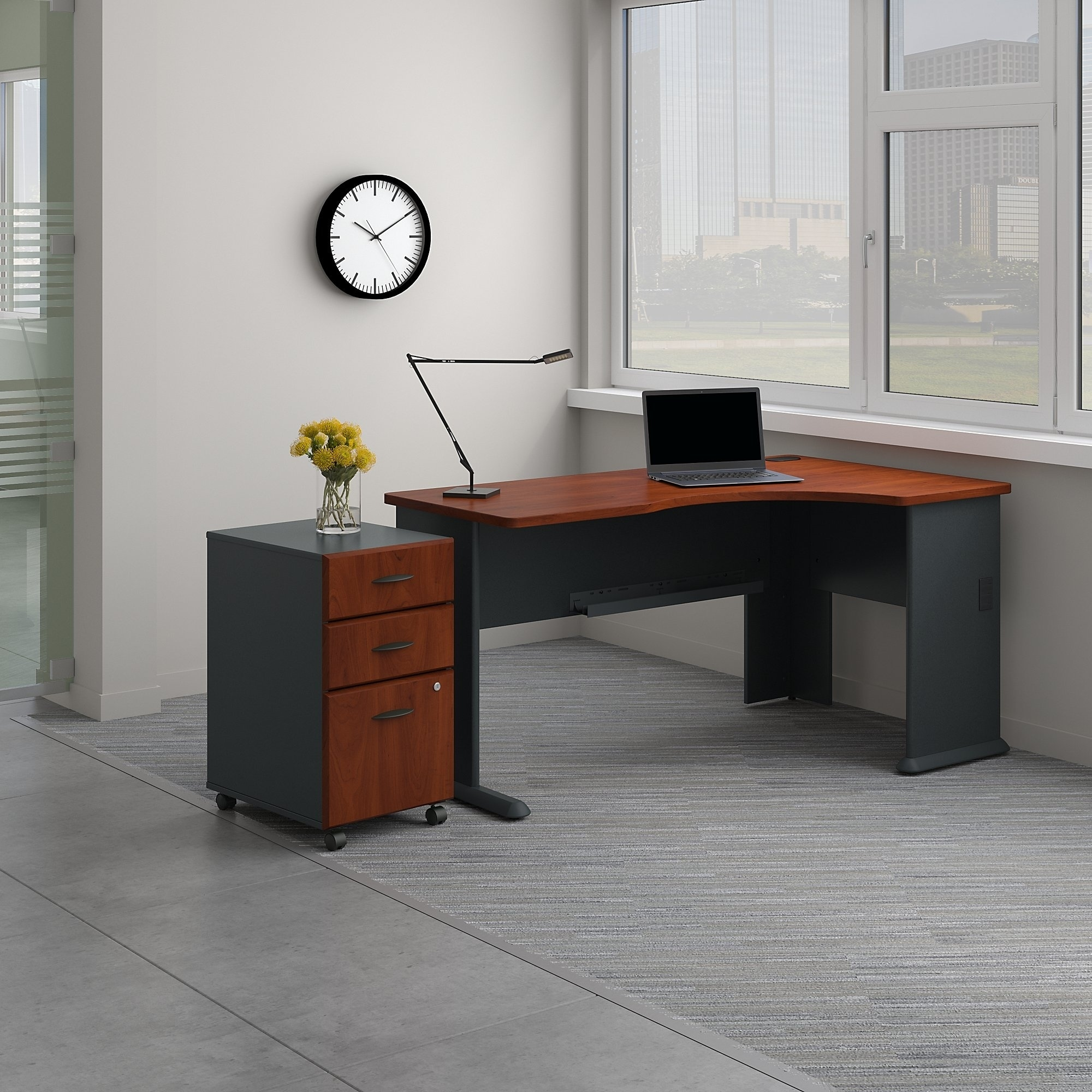 Shop Series A Right Corner Desk With Mobile File Cabinet In Hansen Cherry    Free Shipping Today   Overstock.com   20757157