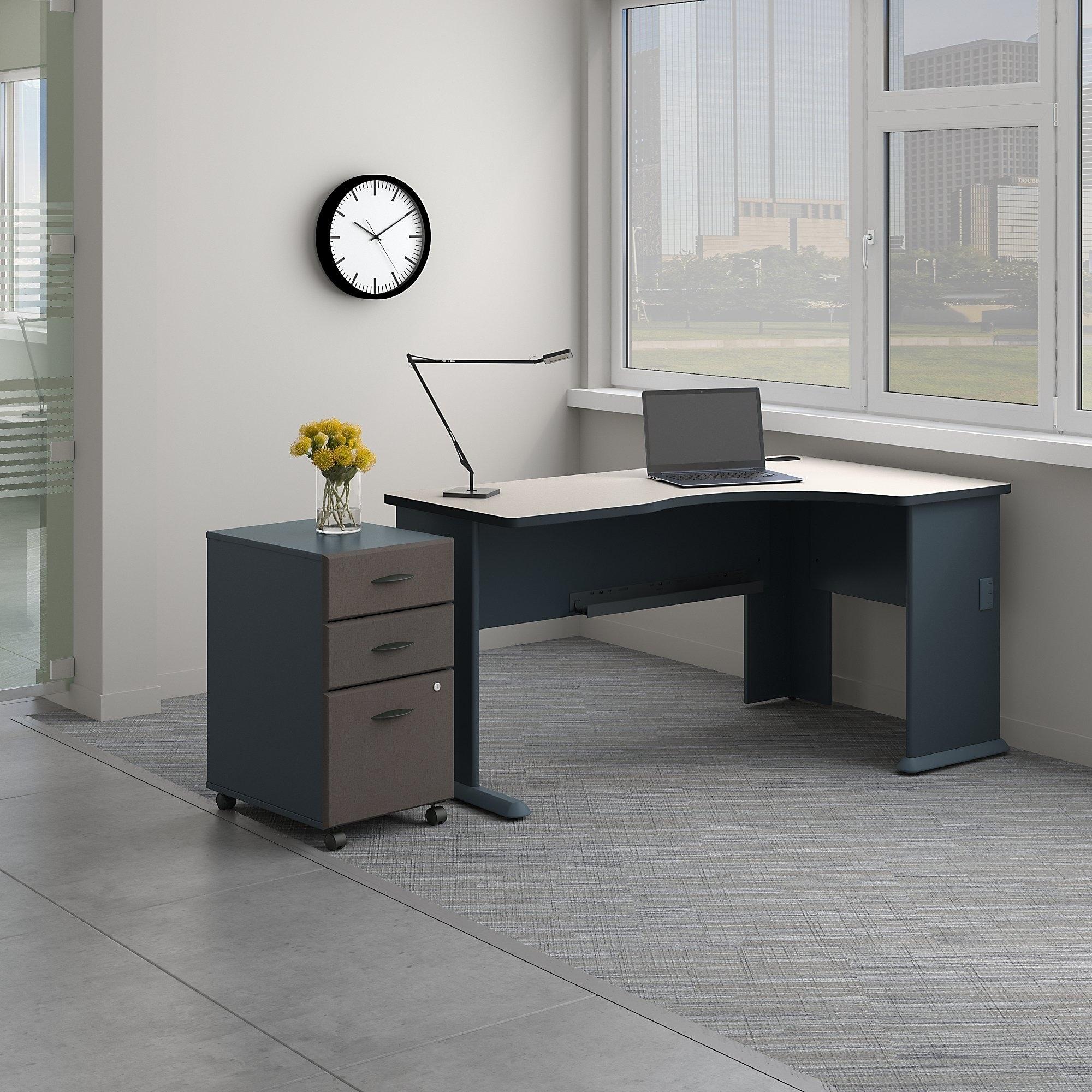 Series A Right Corner Desk With Mobile File Cabinet In Slate