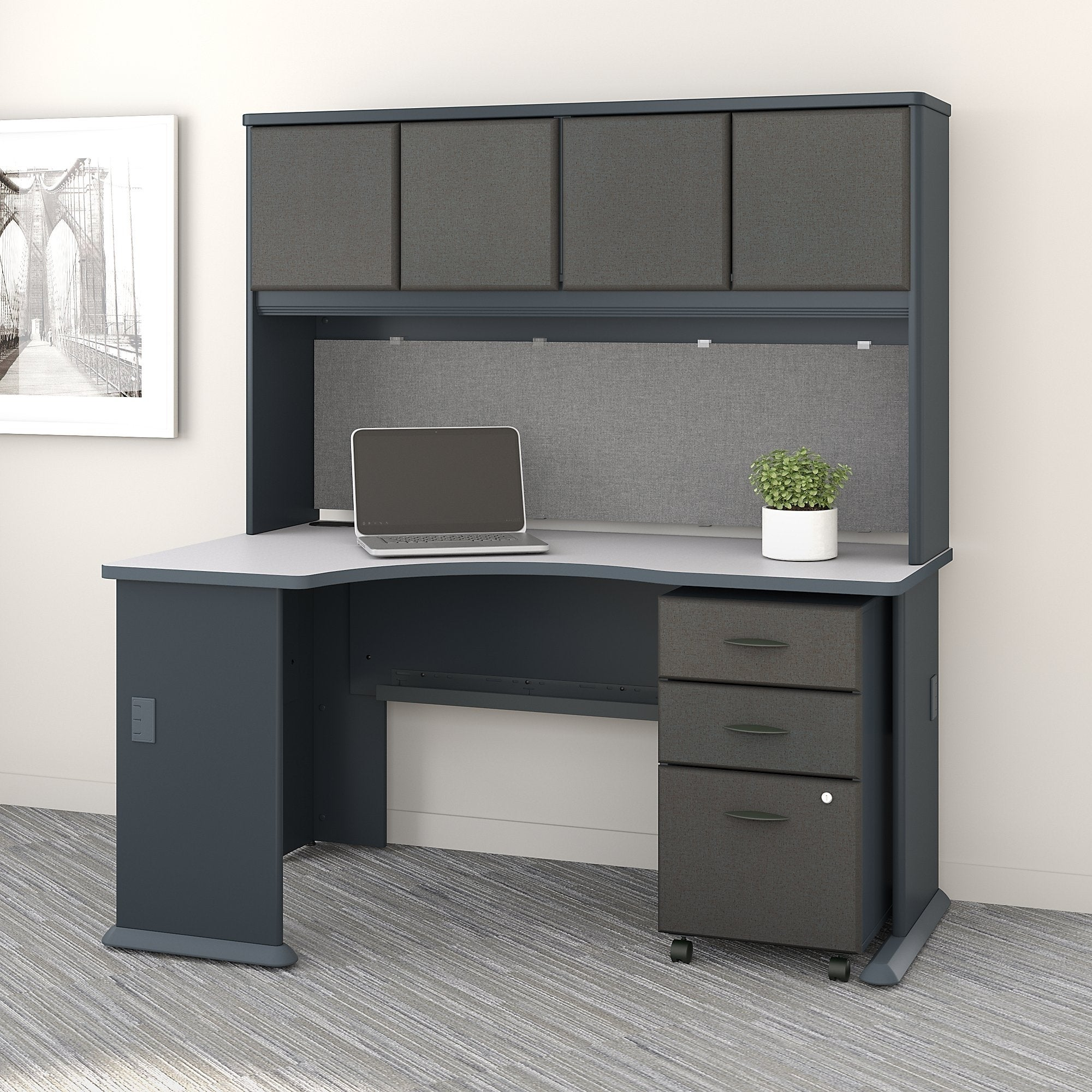 Series A Left Corner Desk With Hutch And Mobile File Cabinet In Slate Ships To Canada 20757166