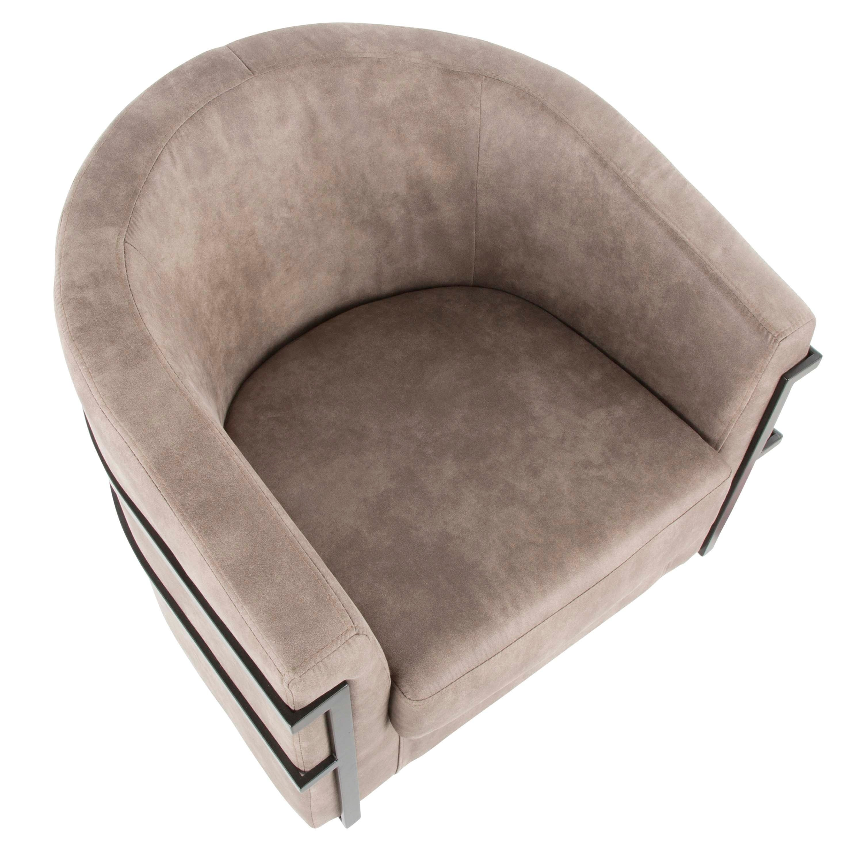 Shop Colby Industrial Upholstered Tub Chair with Metal Wrap-Around ...