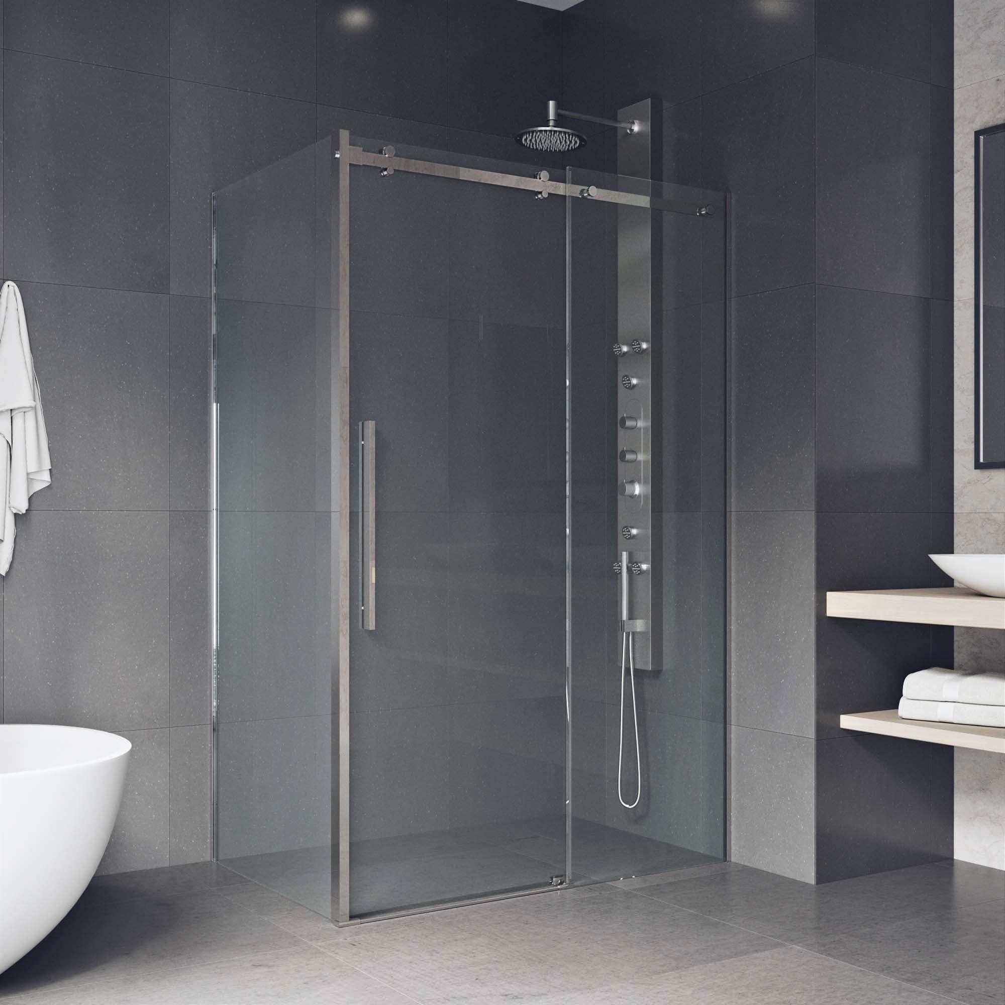 Shop VIGO Alameda Stainless Steel 32x48-inch Frameless Sliding Door ...