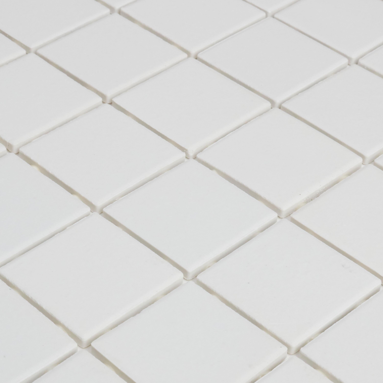 Shop Porcelain 2x2 Inch Mosaic Tile In Arctic White 12x24 Free