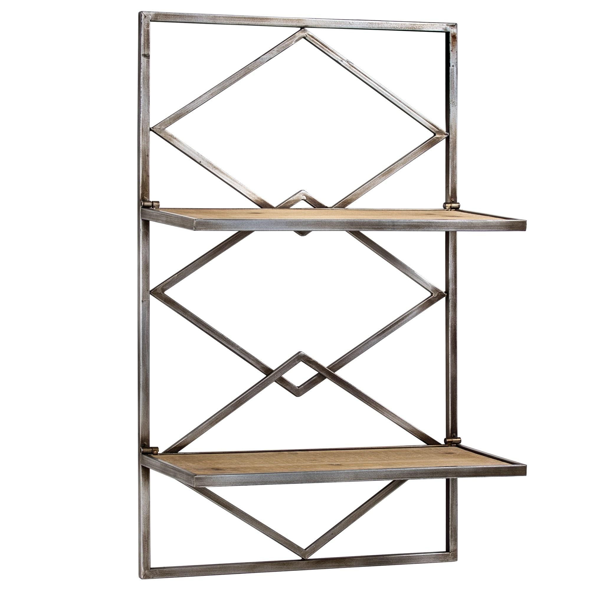 American Art Decor Wood And Metal Hanging Shelf Rack Free Shipping Today 20784621