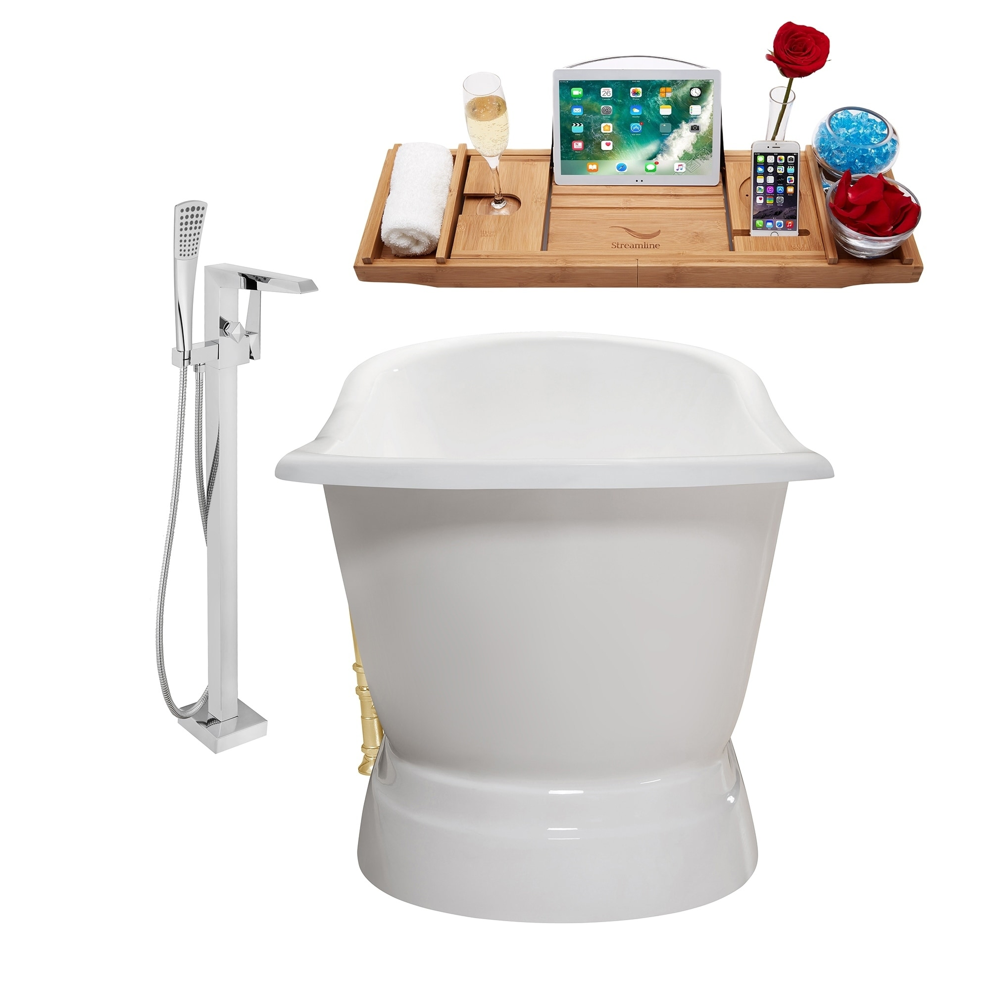 Shop Cast Iron Tub, Faucet and Tray Set 71\