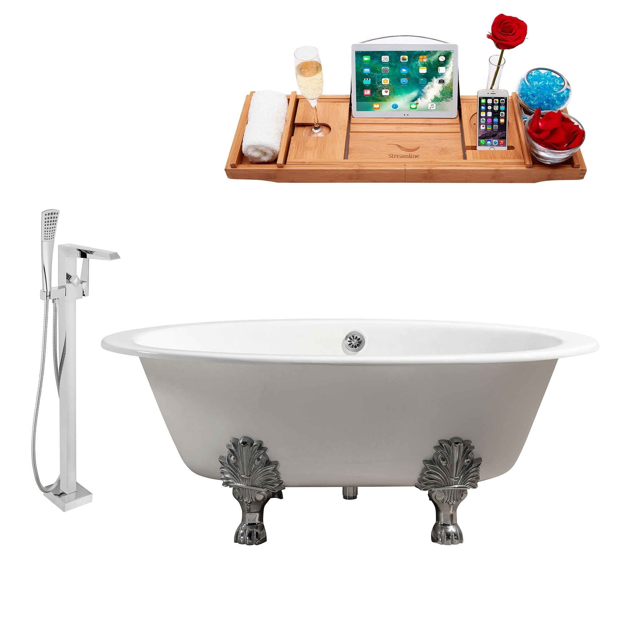 Shop Cast Iron Tub, Faucet and Tray Set 65\