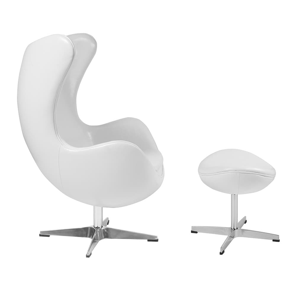 Offex Melrose White Leather Egg Chair with Tilt-Lock Mechanism and Ottoman  sc 1 st  Overstock.com & Shop Offex Melrose White Leather Egg Chair with Tilt-Lock Mechanism ...