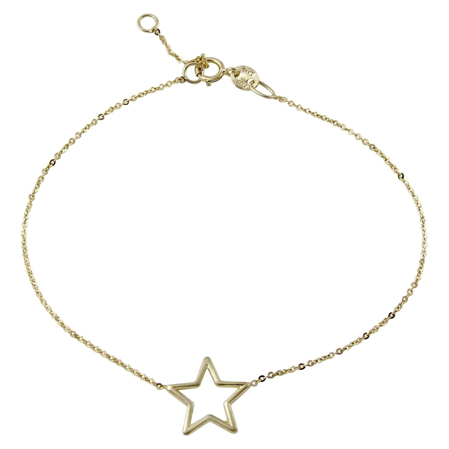 14k Italian Yellow Gold Star Bracelet Adjule 6 75 To 7 25 Free Shipping Today 20817426